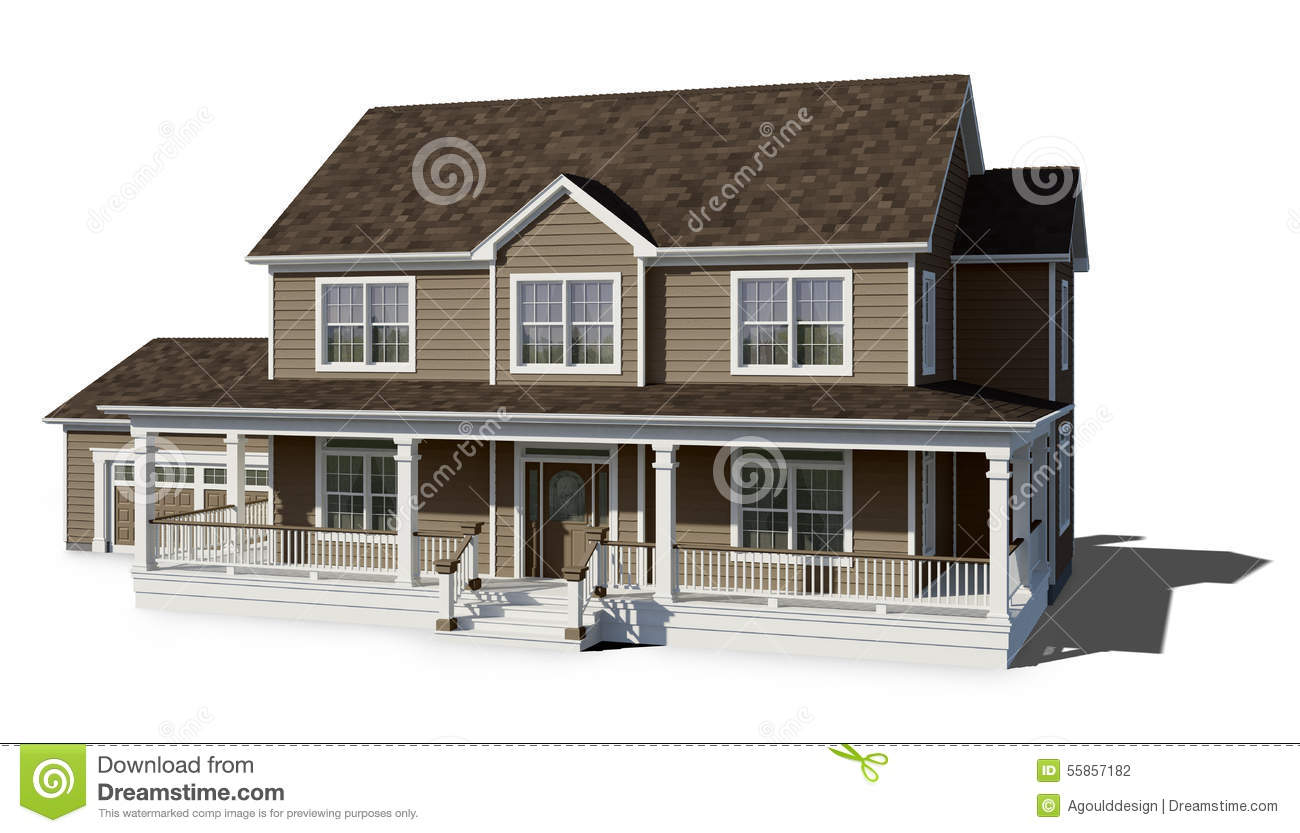 Two story house clay stock photo image of house sale - White house with brown trim ...