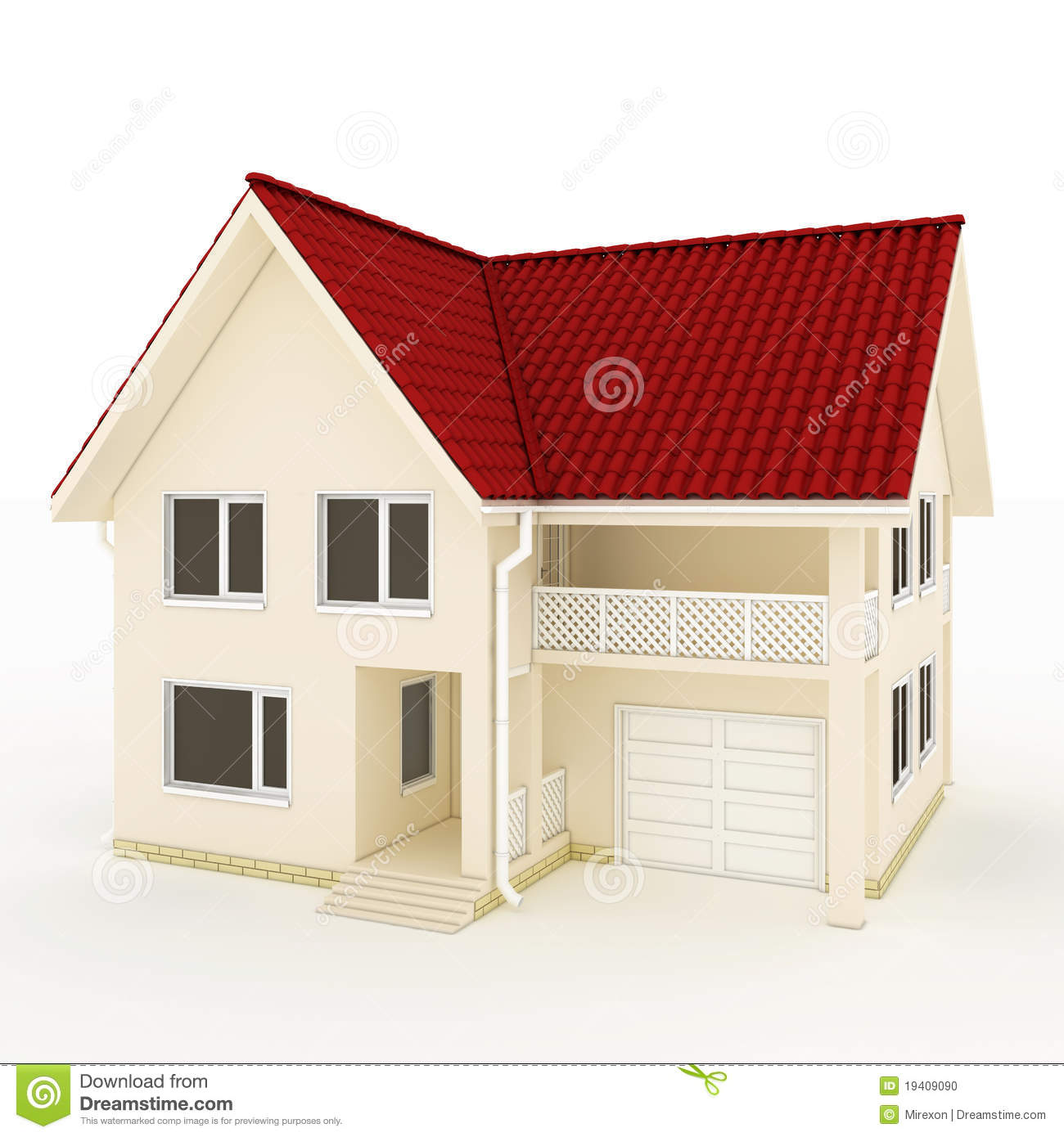 Two story house with red roof balcony and garage stock for Two story house with balcony