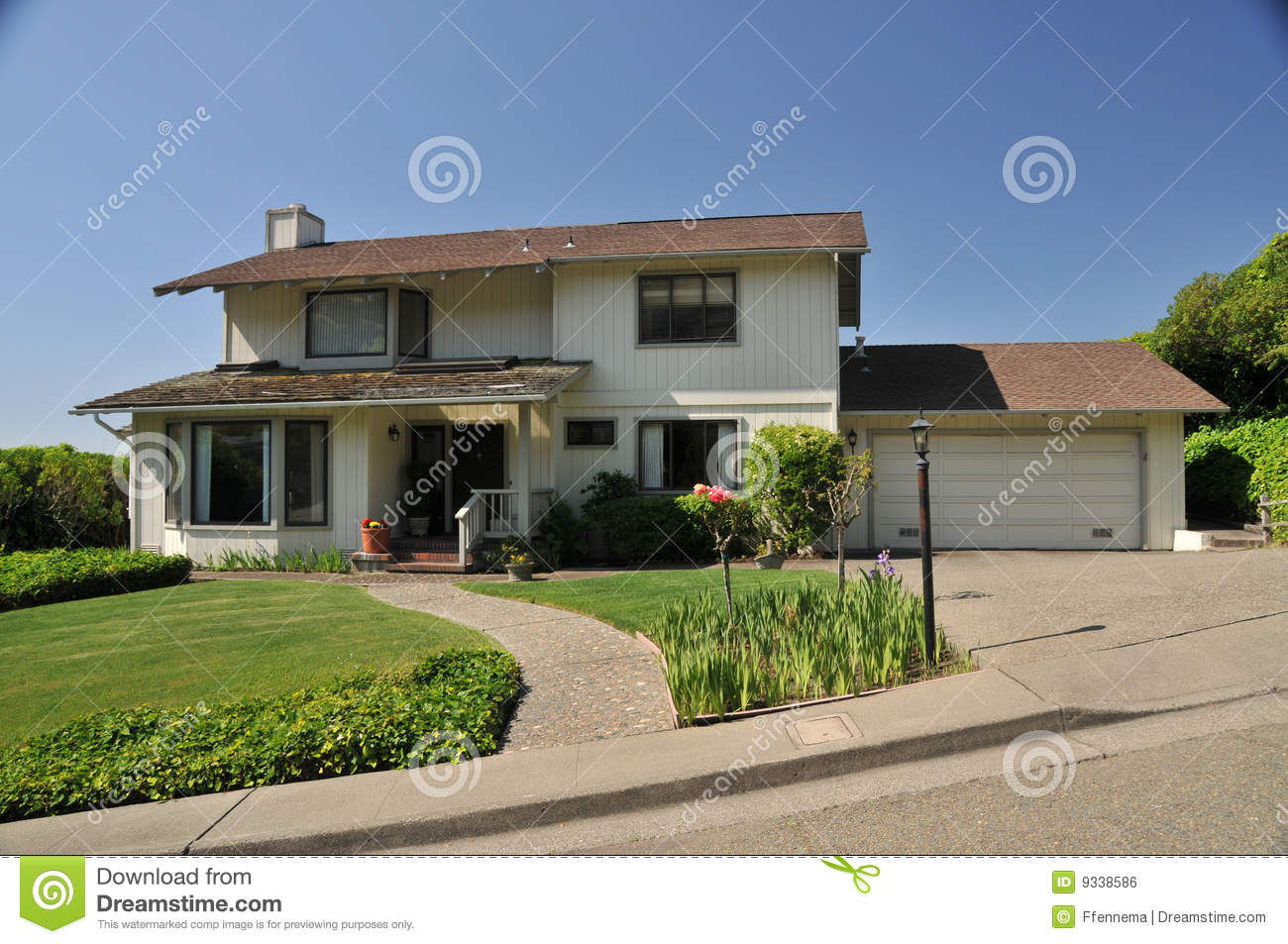 Two Story House With Walkway To Front Stock Photo Image 9338586