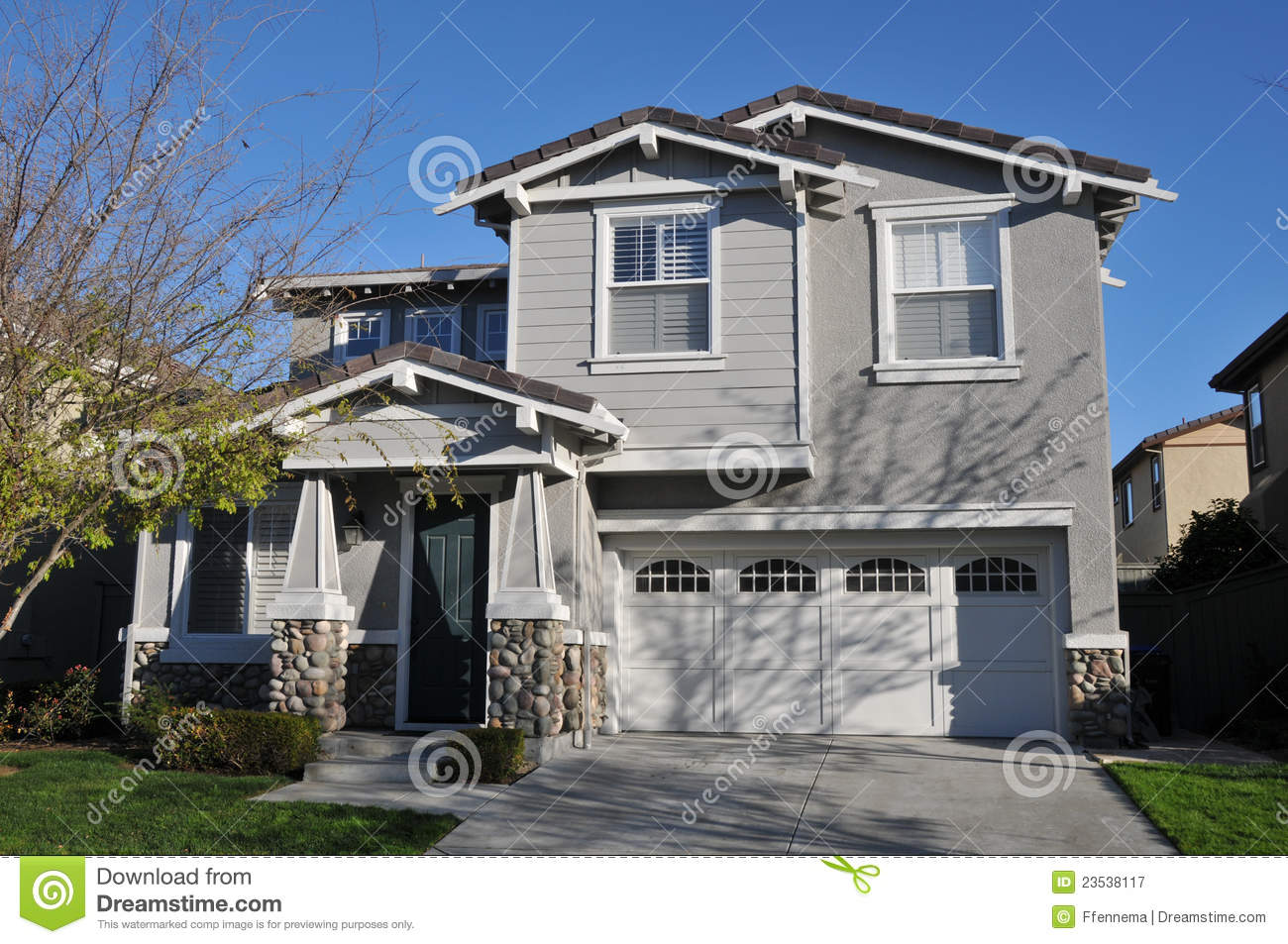 Two Story Single Family House With Driveway Royalty Free Stock Photography Image 23538117