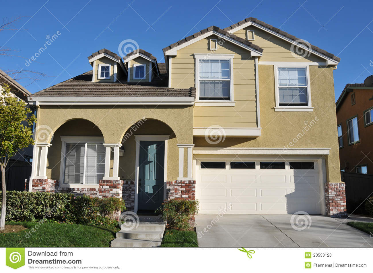 Two Story Single Family House With Driveway Stock Photo Image 23538120