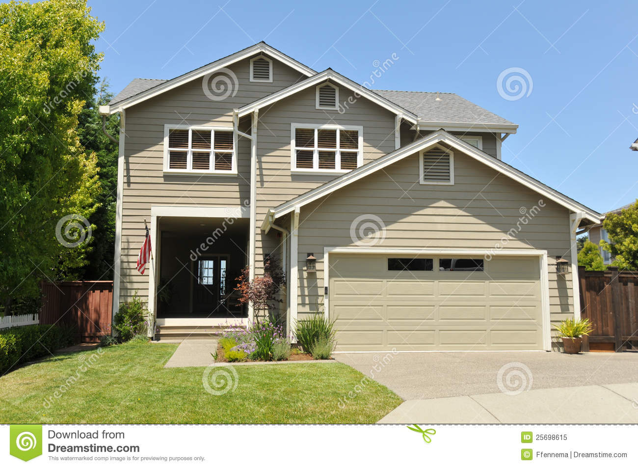 Two story single family house with driveway stock image for House for two families