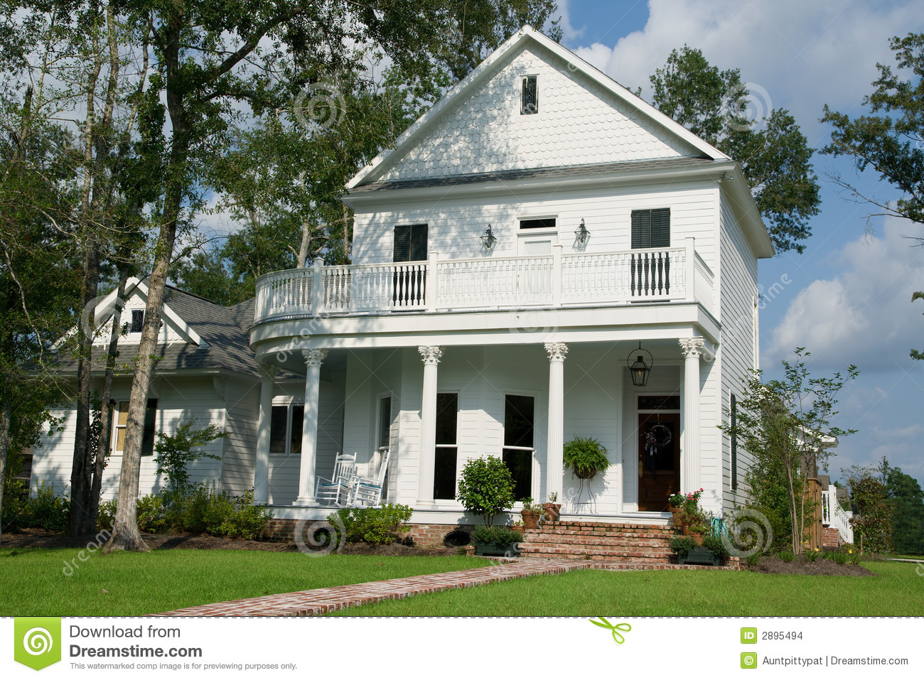 Two story white house stock photo image of porch for What is two story house