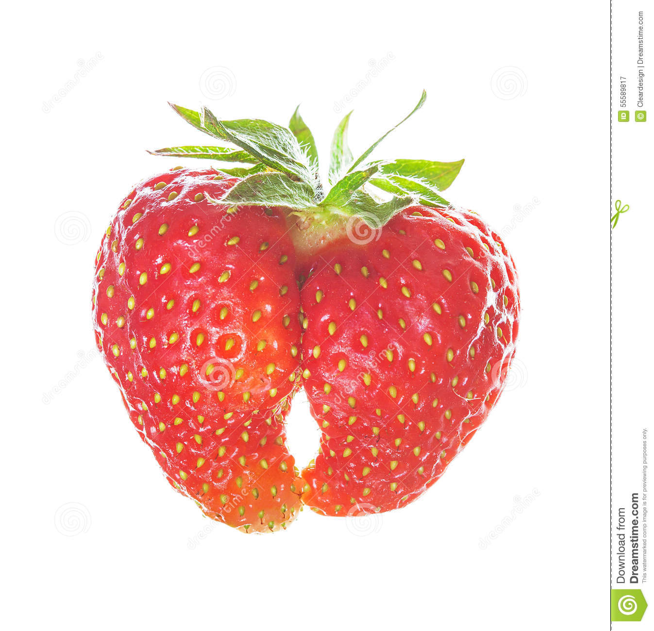 Two strawberries joined by nature into one heart shape symbol of royalty free stock photo biocorpaavc