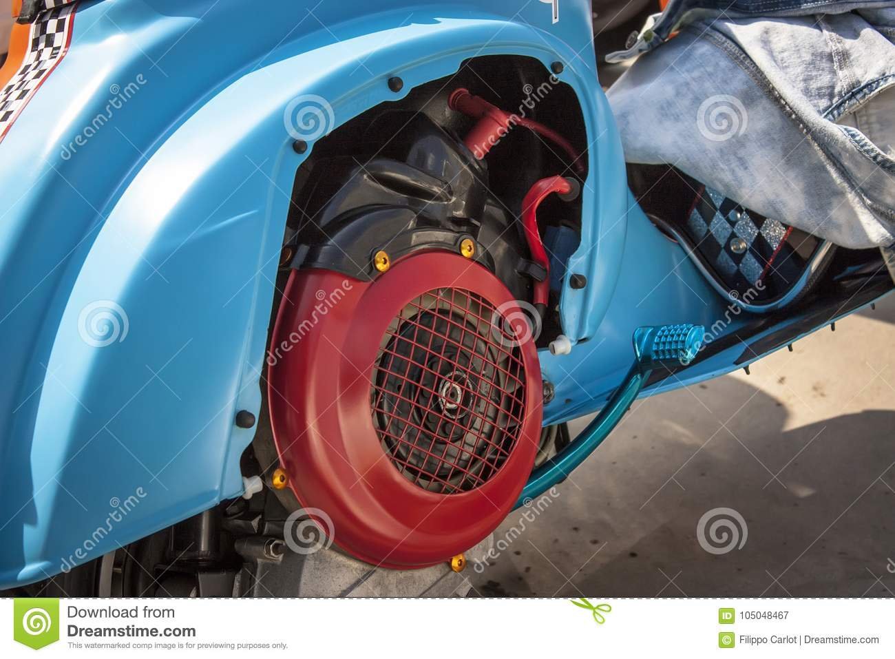 The Two-stroke Engine Of The Scooter  Stock Image - Image of candle