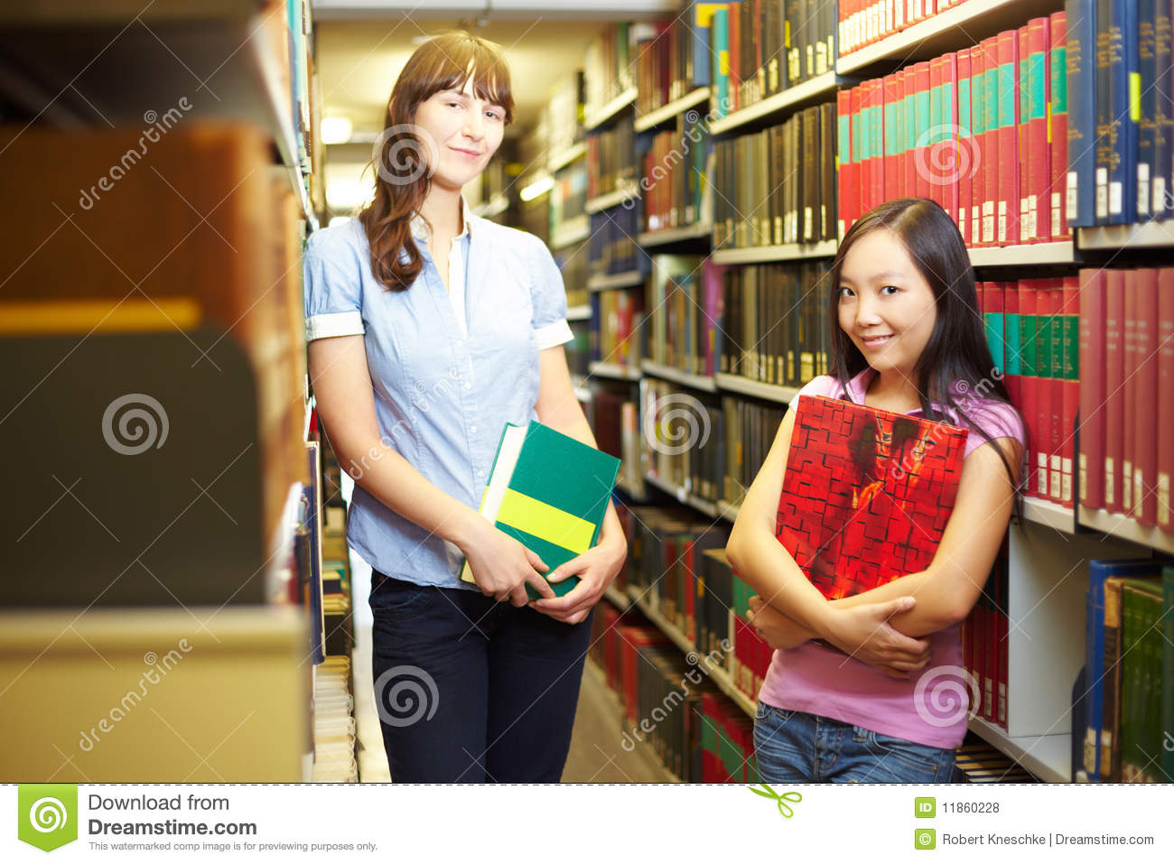 Two student in archive
