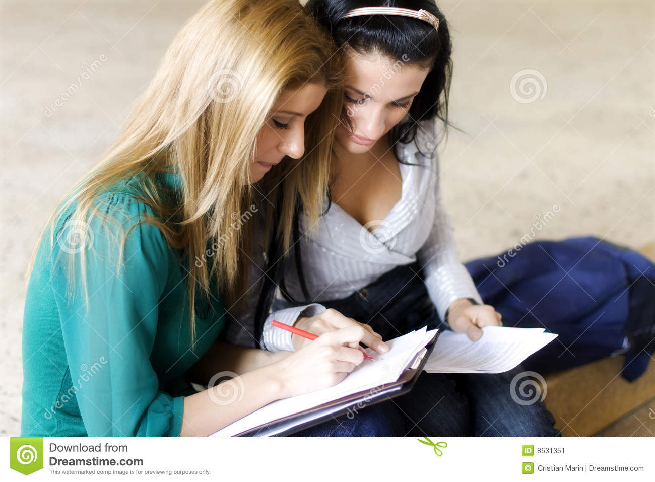 Classroom Design Concept ~ Two students learning together stock image