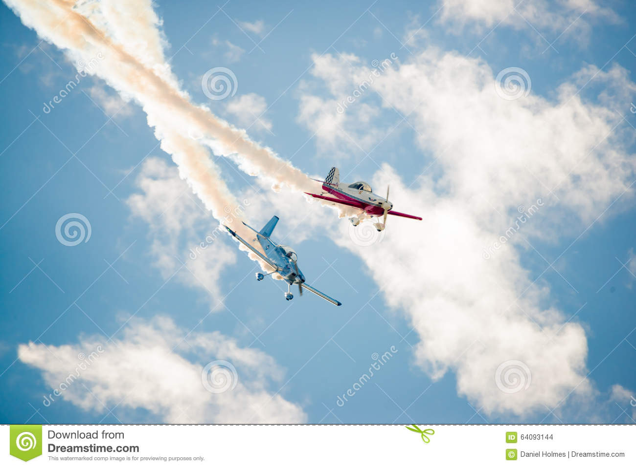 Two Stunt Planes Cross Paths Editorial Stock Image - Image