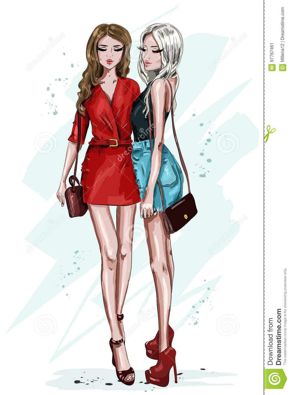 Two stylish beautiful girl with accessories hand drawn fashion women women in summer clothes