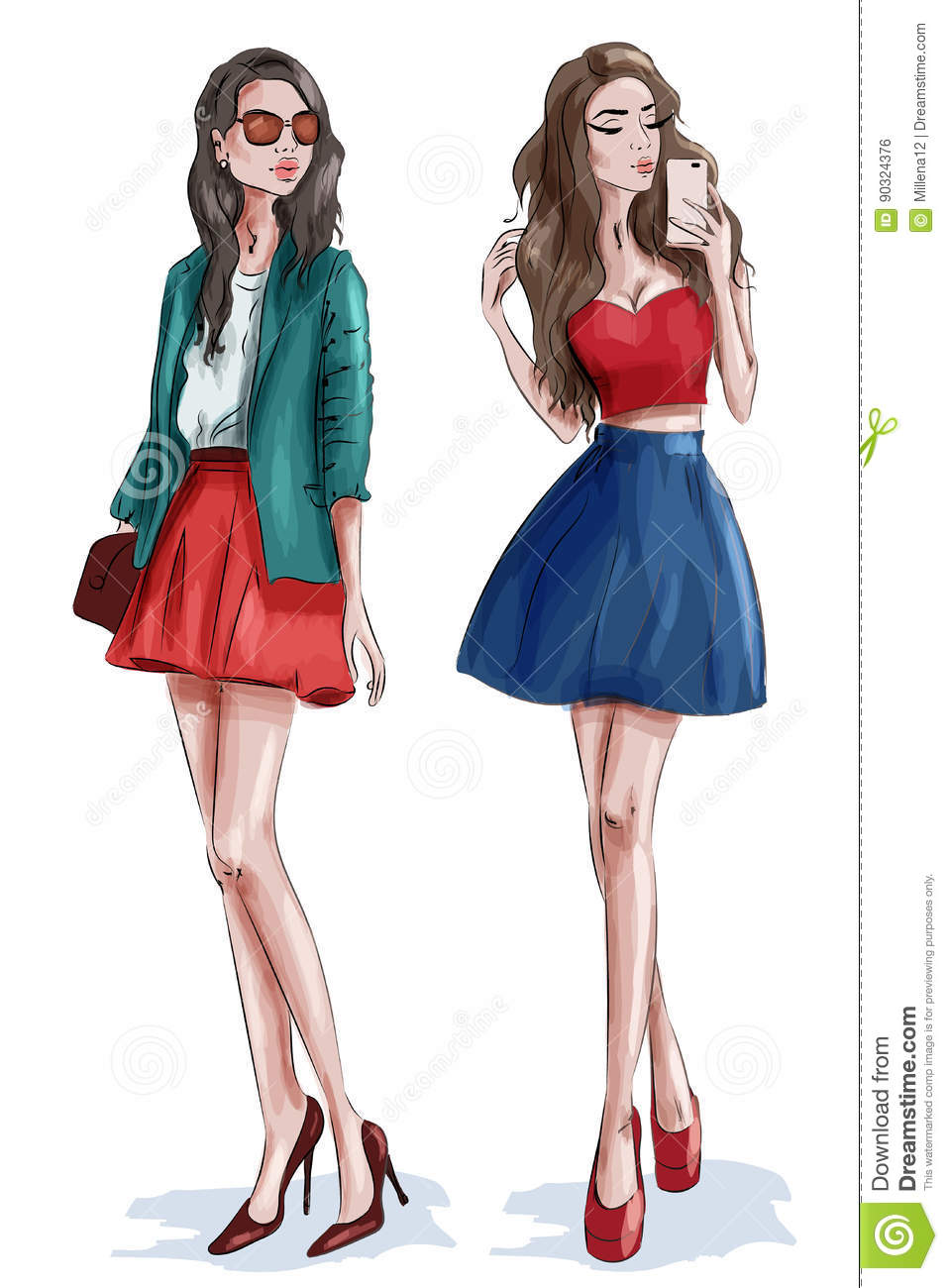 Two Stylish Beautiful Girls With Accessories. Women In ...