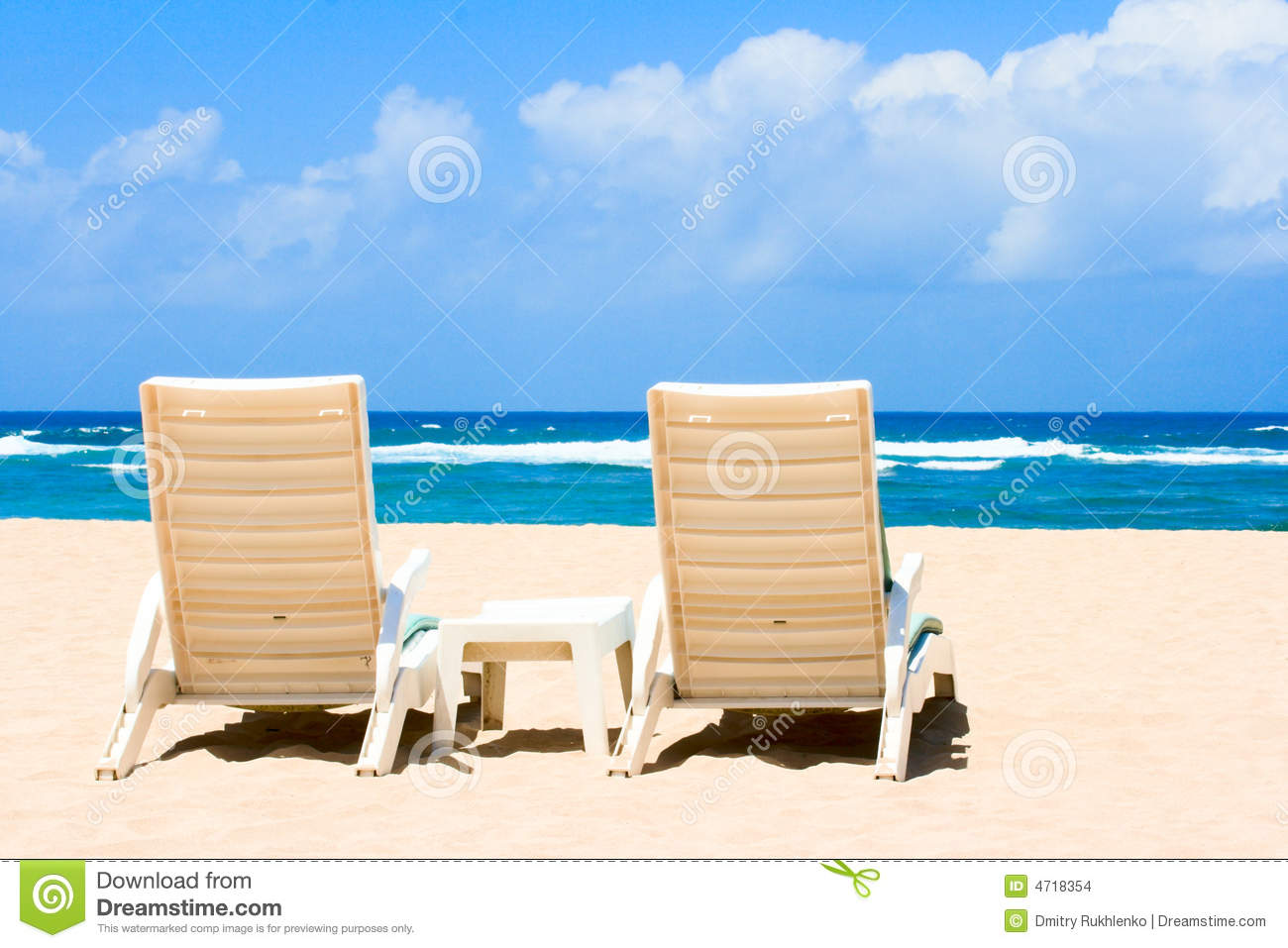 Two Sun Beach Chairs On Coast Near Ocean Stock Images