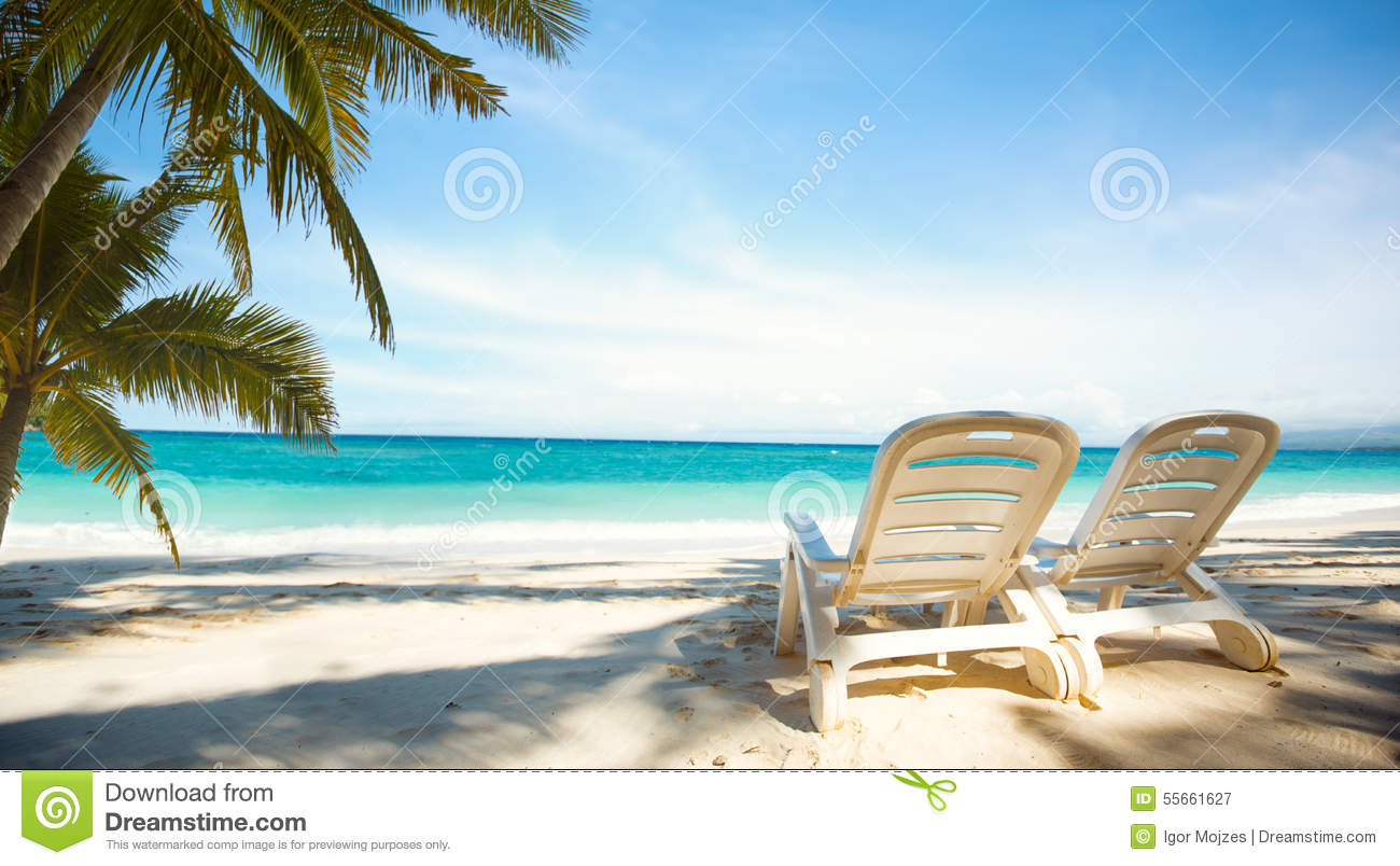 Download Two Sunbeds On Paradise Beach Stock Image - Image of paradise, beach: 55661627