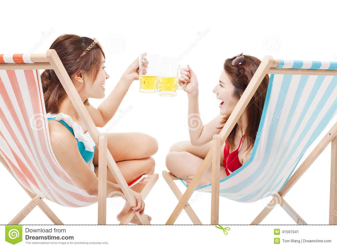 Two Sunshine Girl Holding Beer Cheers A Beach Chair Stock Image Image