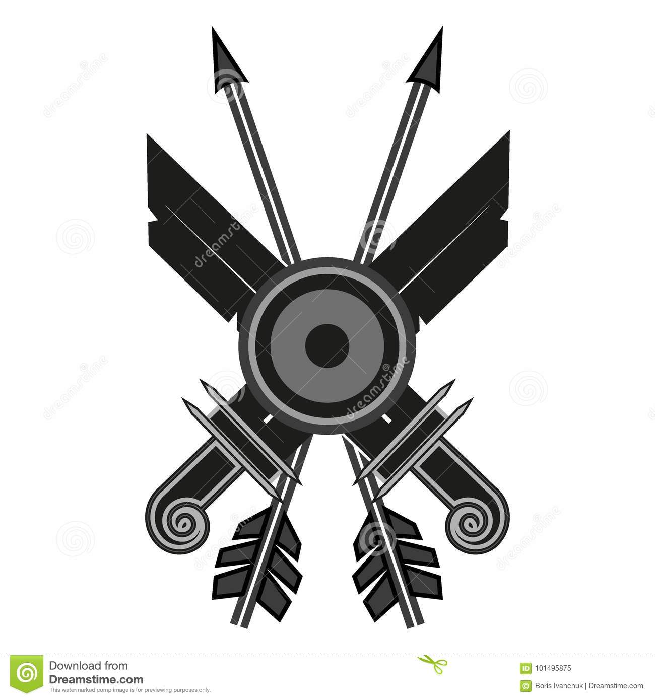 Two Swords Two Arrows One Shield On A White Background Stock