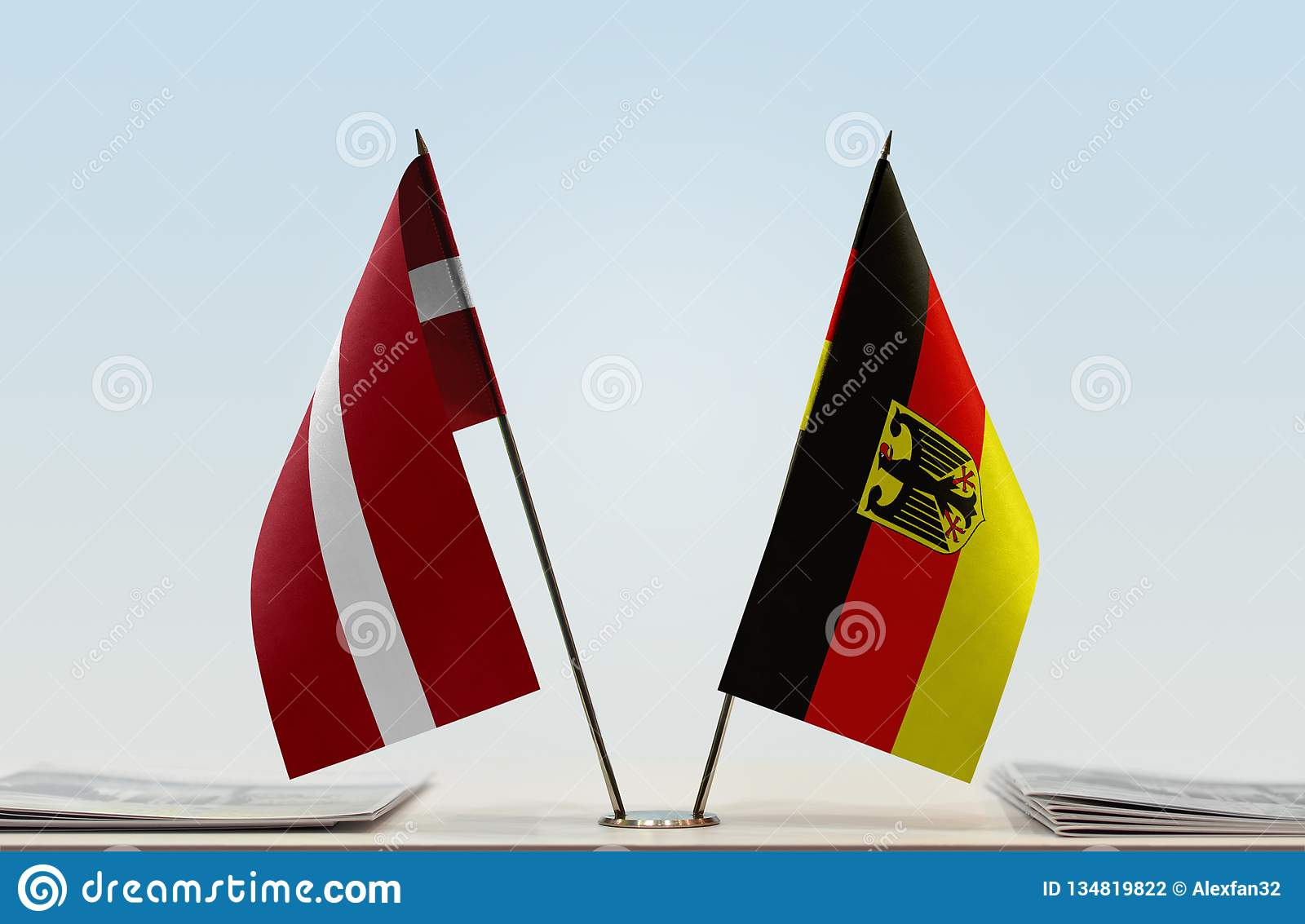 Flags of Latvia and Germany