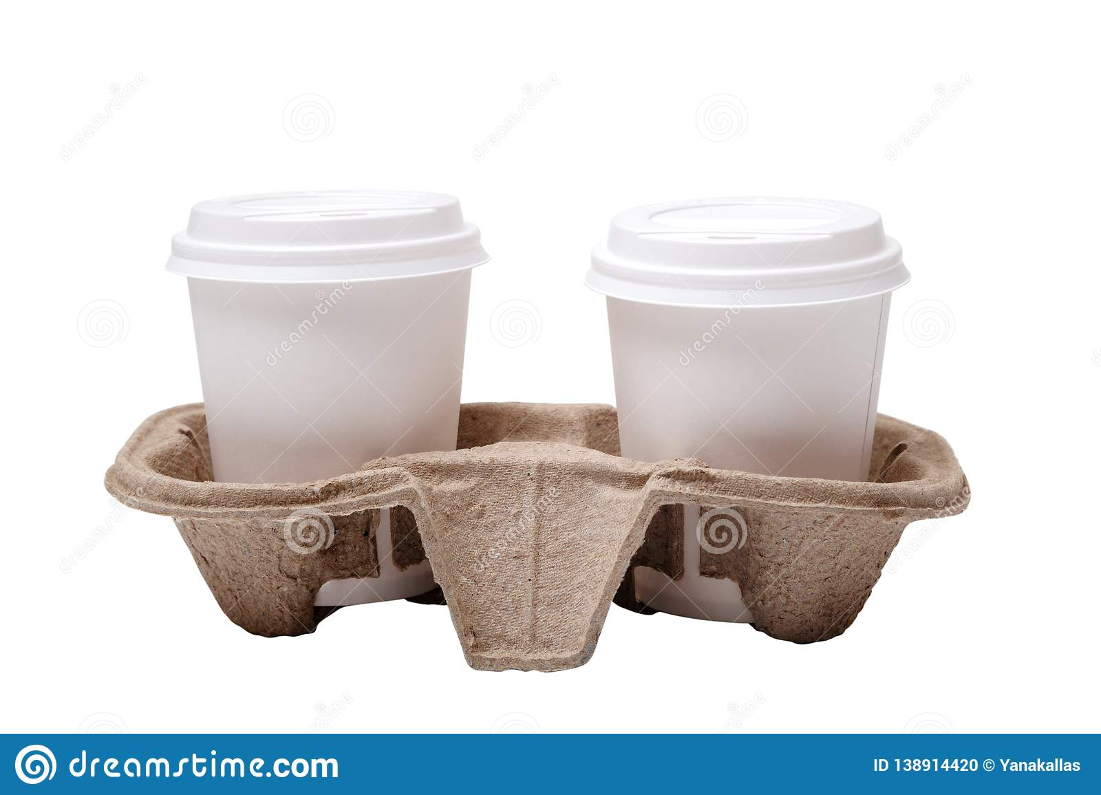 Two take-out coffee in holder. Isolated on a white. Two take out coffee cups in pressed cardboard cup holder isolated