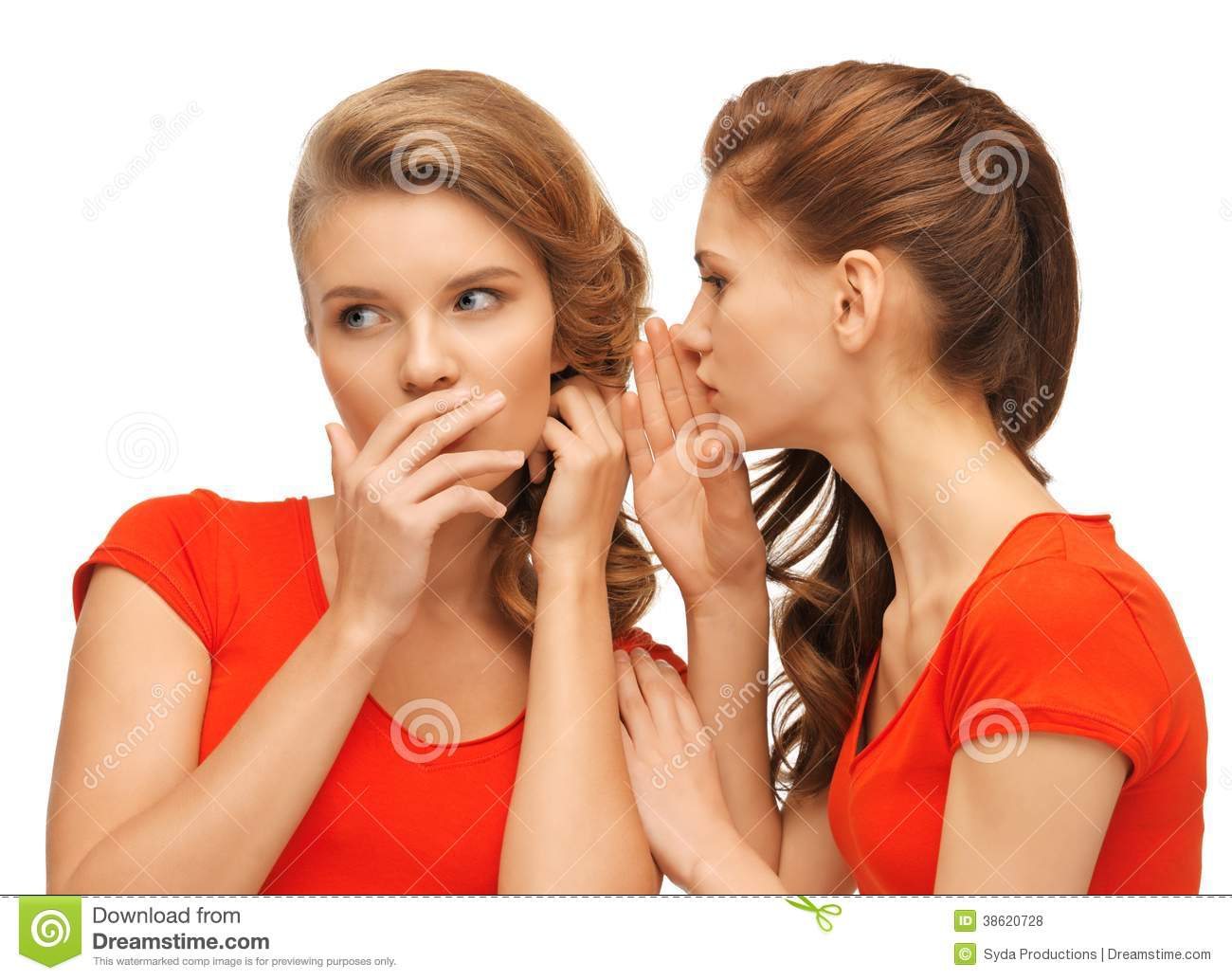 two talking teenage girls in red t shirts royalty free