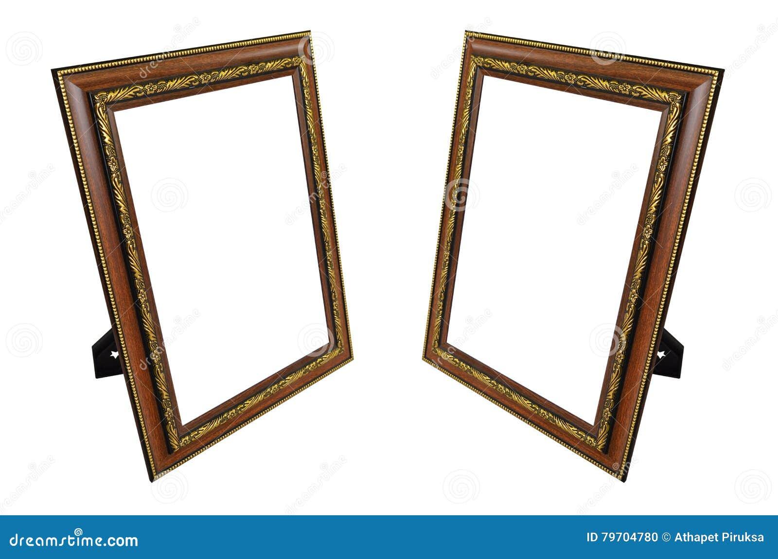 Two Teak Frames With Gold Patterns Stock Illustration - Illustration ...