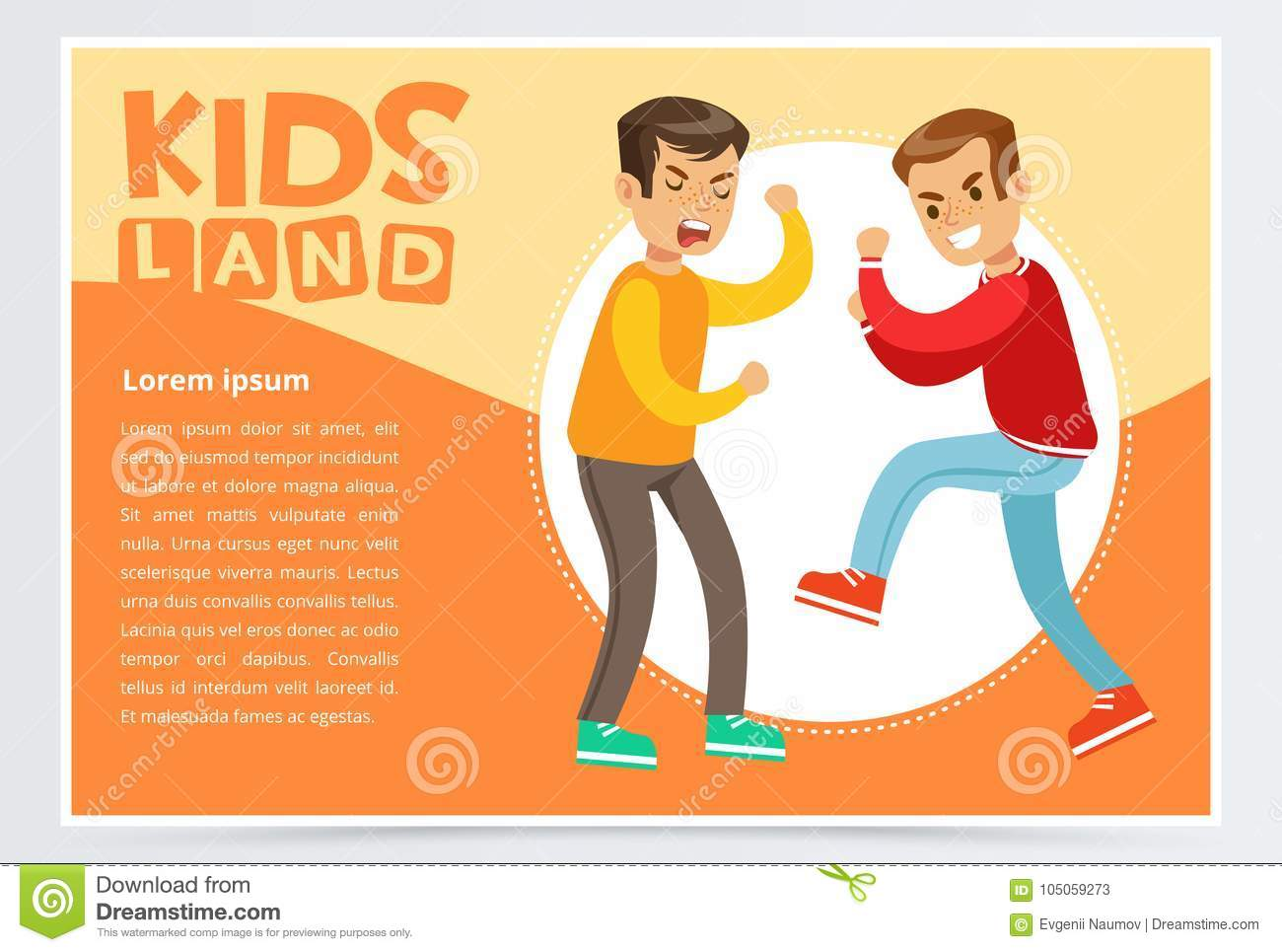Two teen boys fighting each other, boy bullying classmate, aggressive behavior, kids land banner flat vector element for