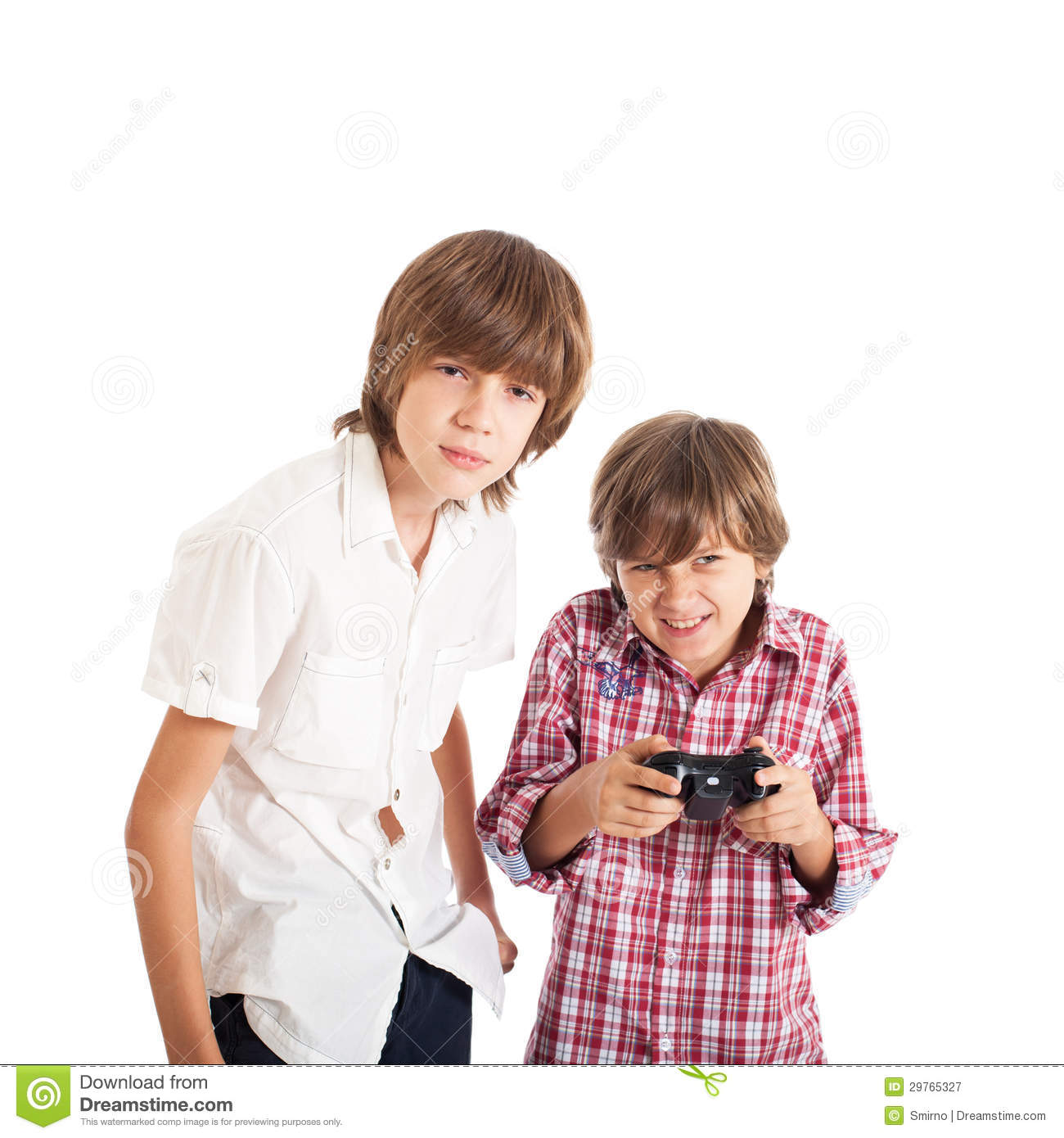 two boys playing computer games stock image image of
