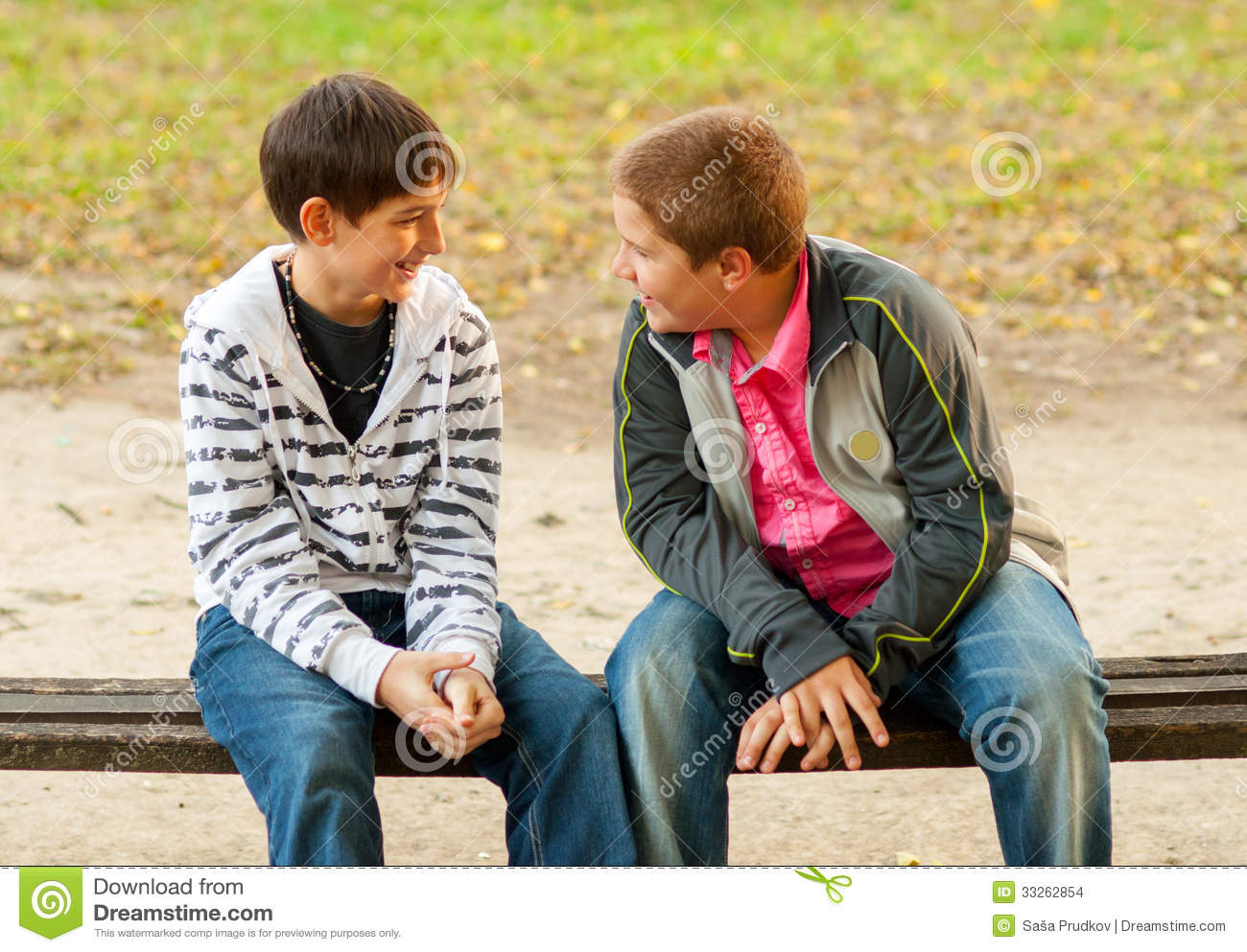 Two Teenage Friends Talking In The Park Stock Images - Image: 33262854