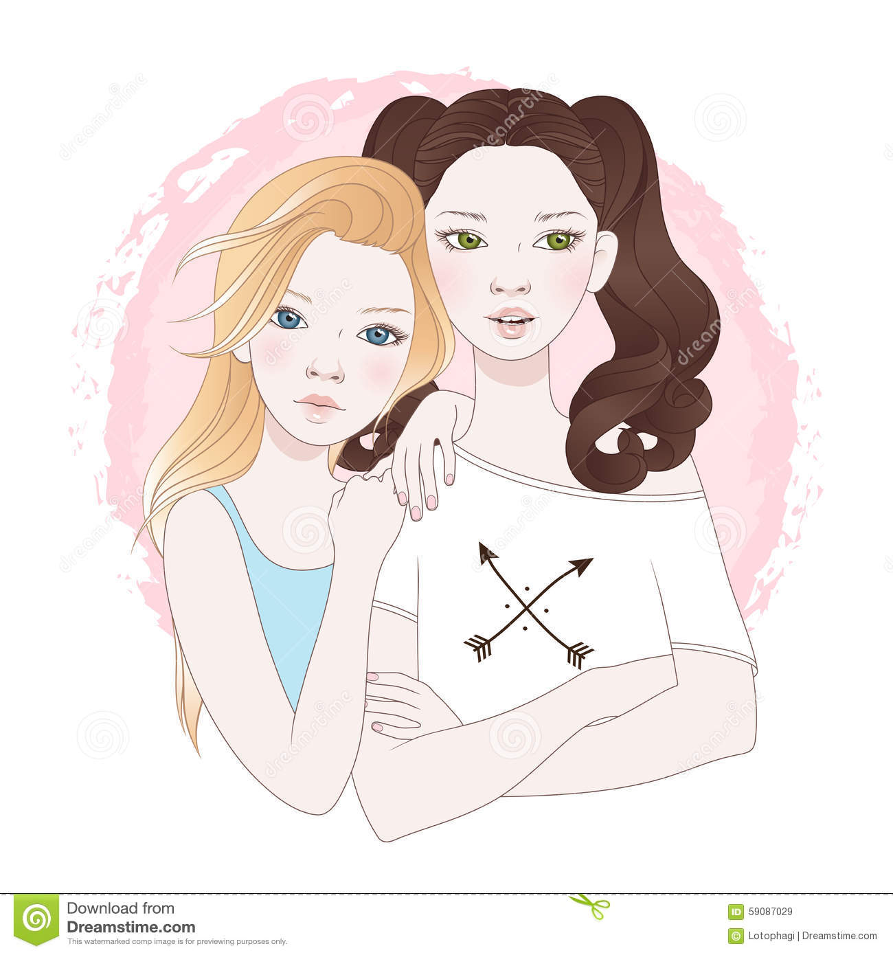 Two Teenage Girls Best Friends Vector Illustration Stock Image 59087029
