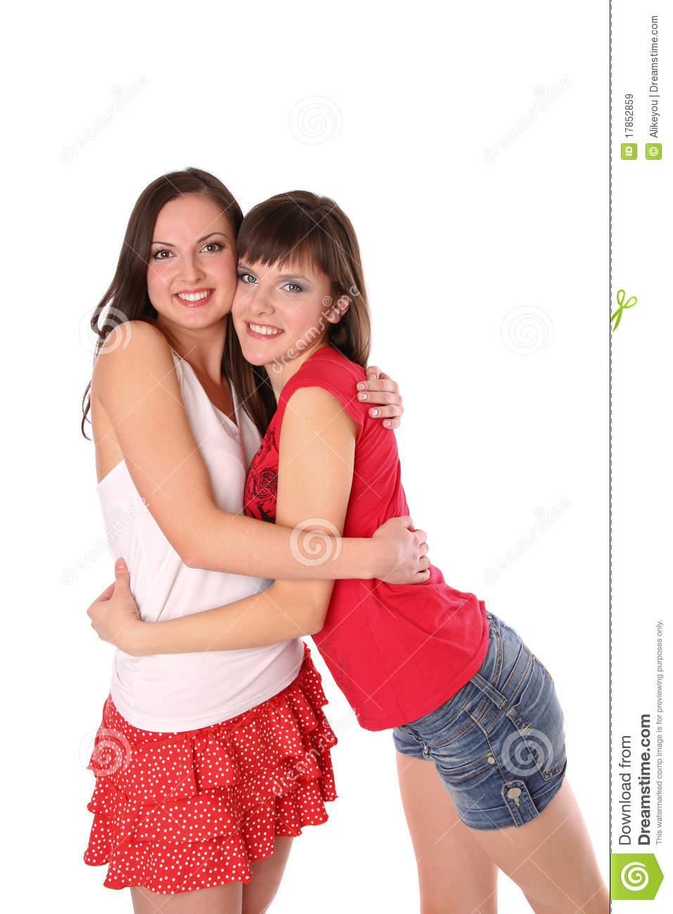 Two teenage girls hugging royalty free stock images for Teen age girl picthar