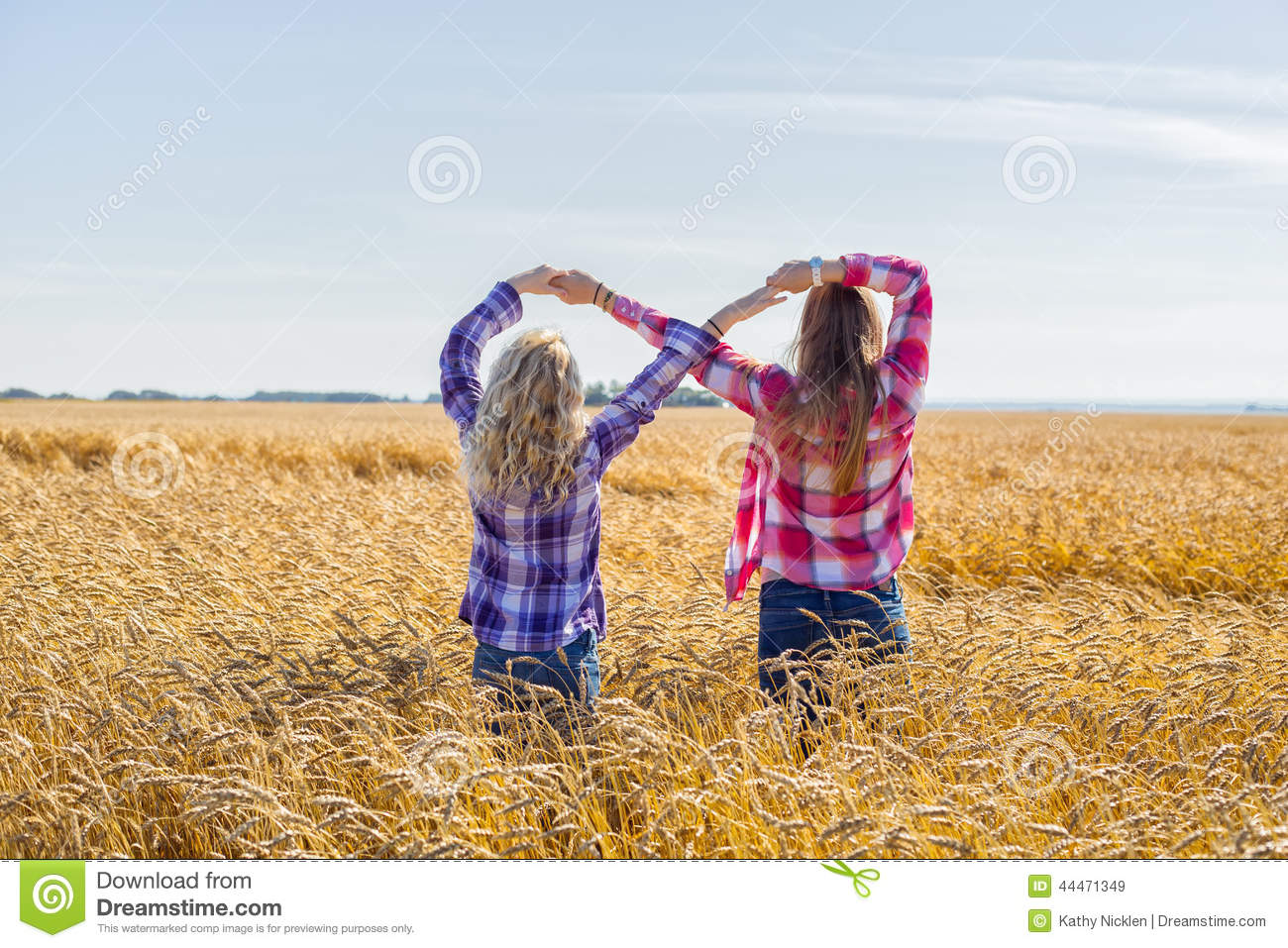 Two Teenage Girls Making Infinity Sign Stock Image Image Of Field