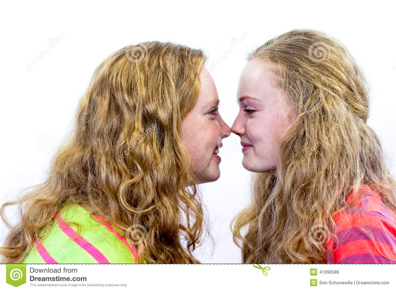 Two Teenage Girls Noses Make Contact Stock Photo - Image ...