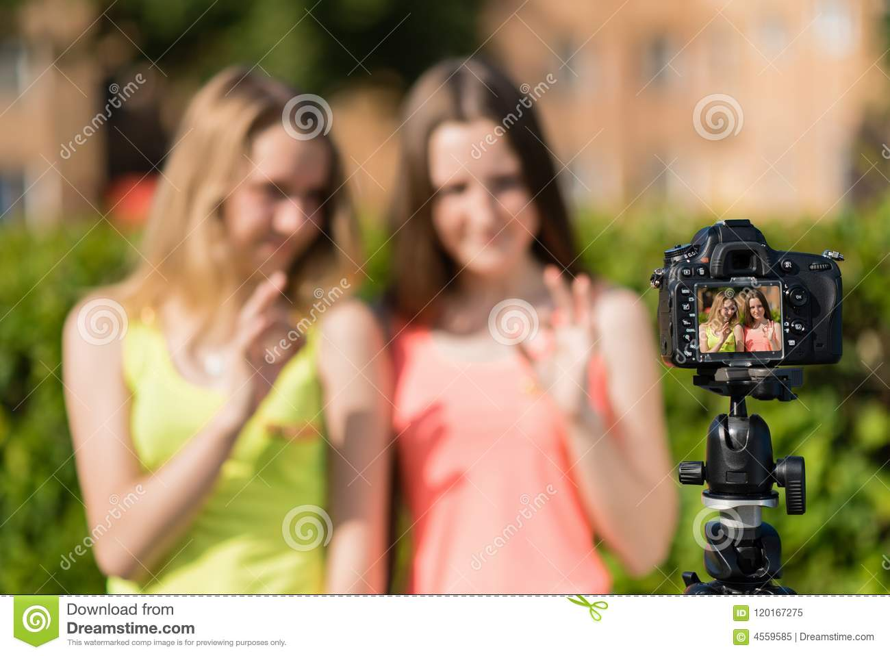 Two teenage girls are recording video on the camera. Summer in nature. With  gestures of hands shows Okay. Free space for text. The camera is on a  tripod.