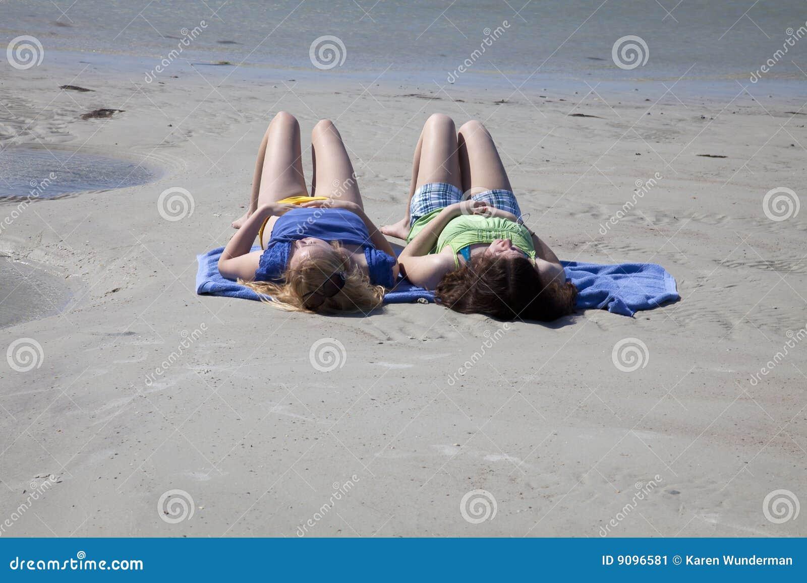 sunbathing beach girls Teen on