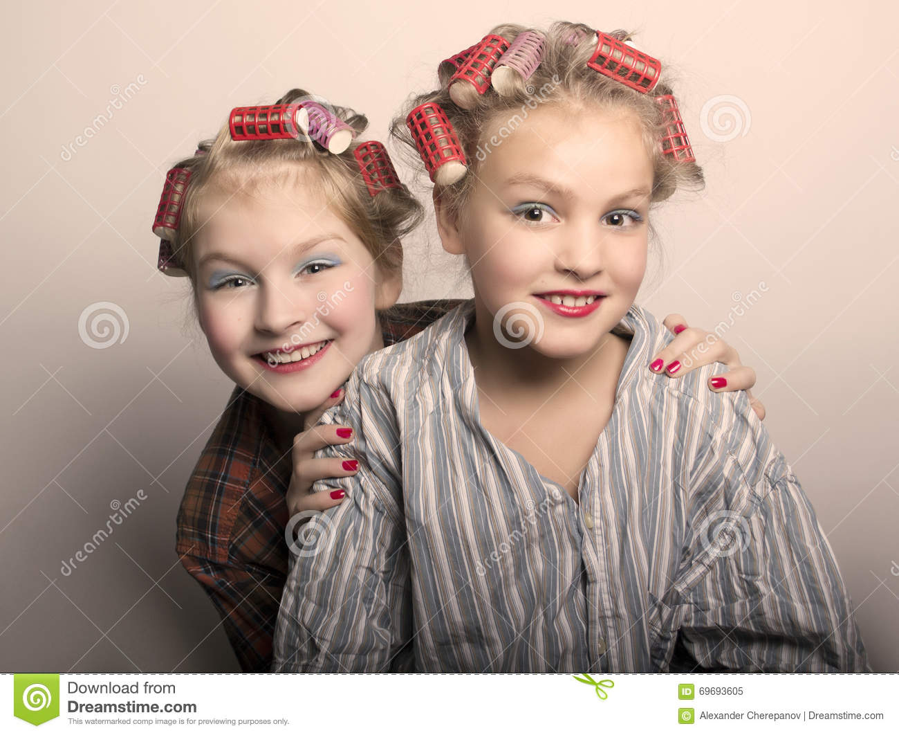 Two Teenager Girls Playing Housewives, Do Yourself Hairstyles And ...