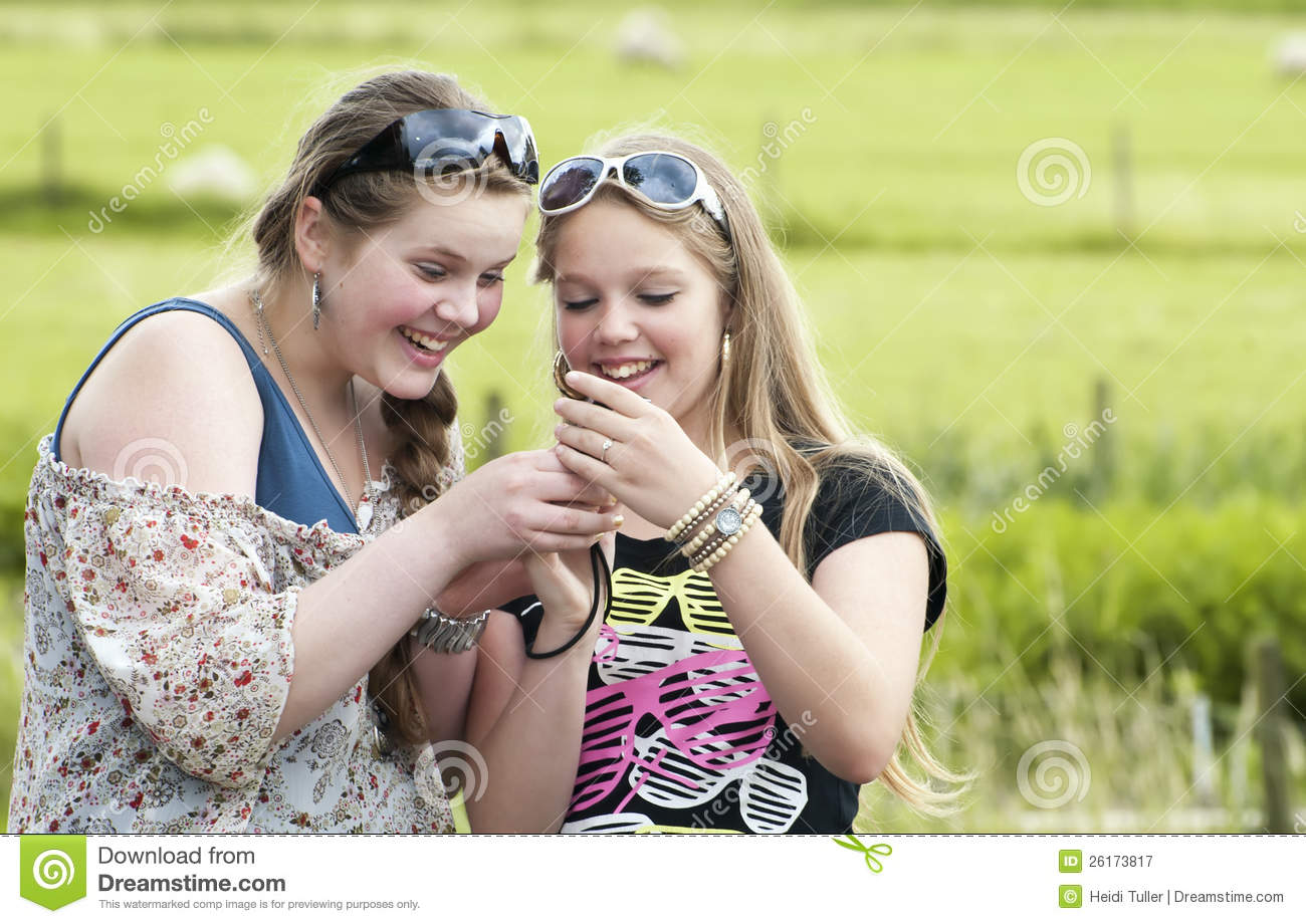 Two Teens Looking And Laughing Stock Image Image Of