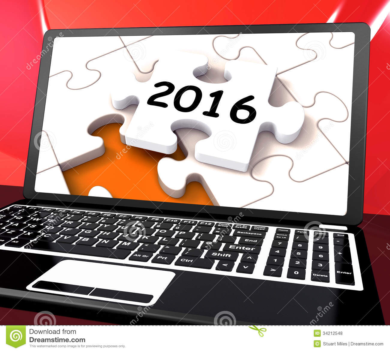 Two Thousand And Sixteen On Laptop Showing New Years Resolution 2016.