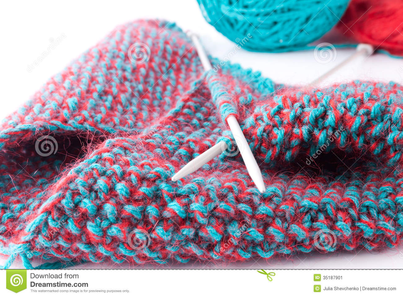 Knitting Threads : Two threads knitting fabric stock image