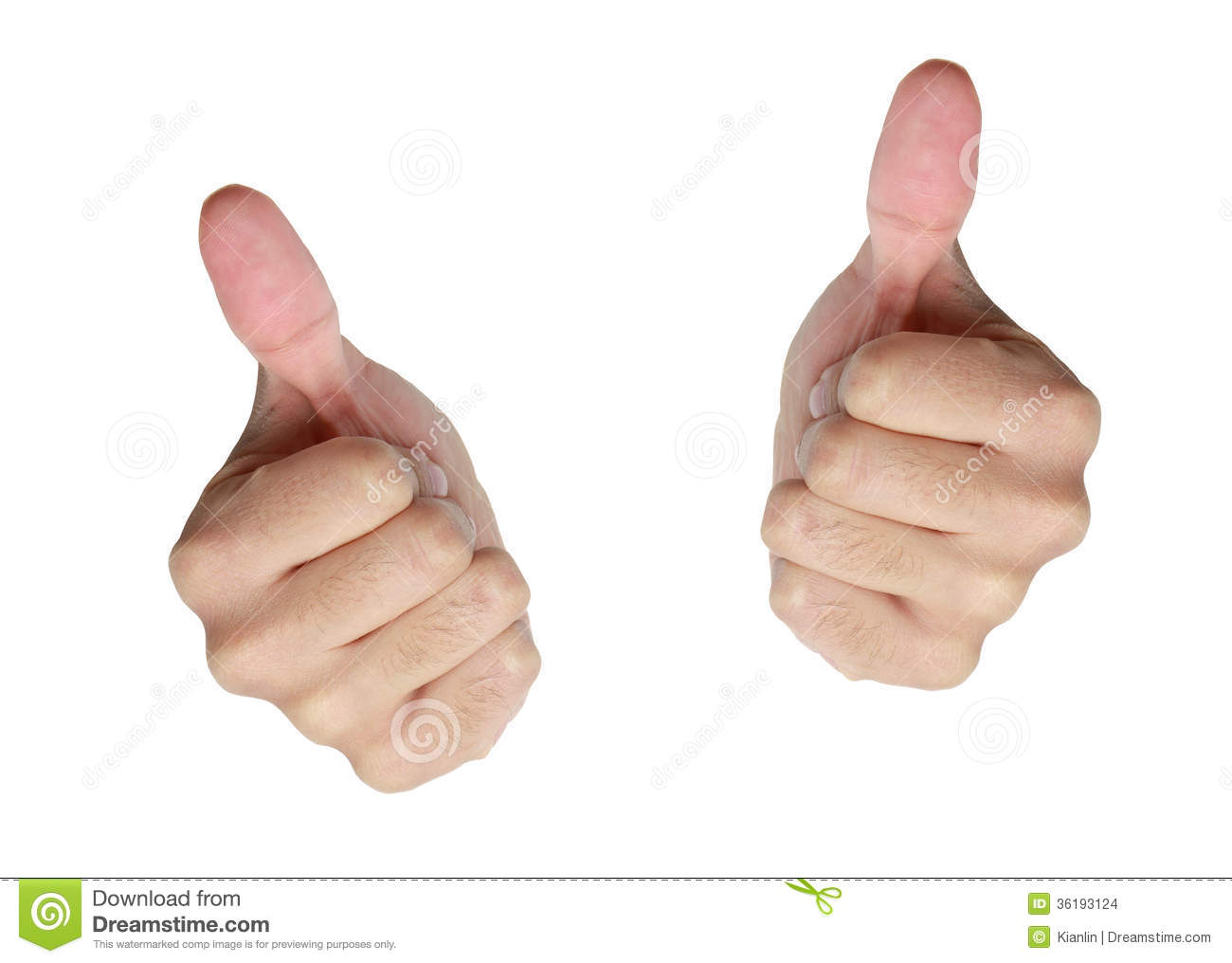 Two Thumbs Up On White Stock Images - Image: 36193124
