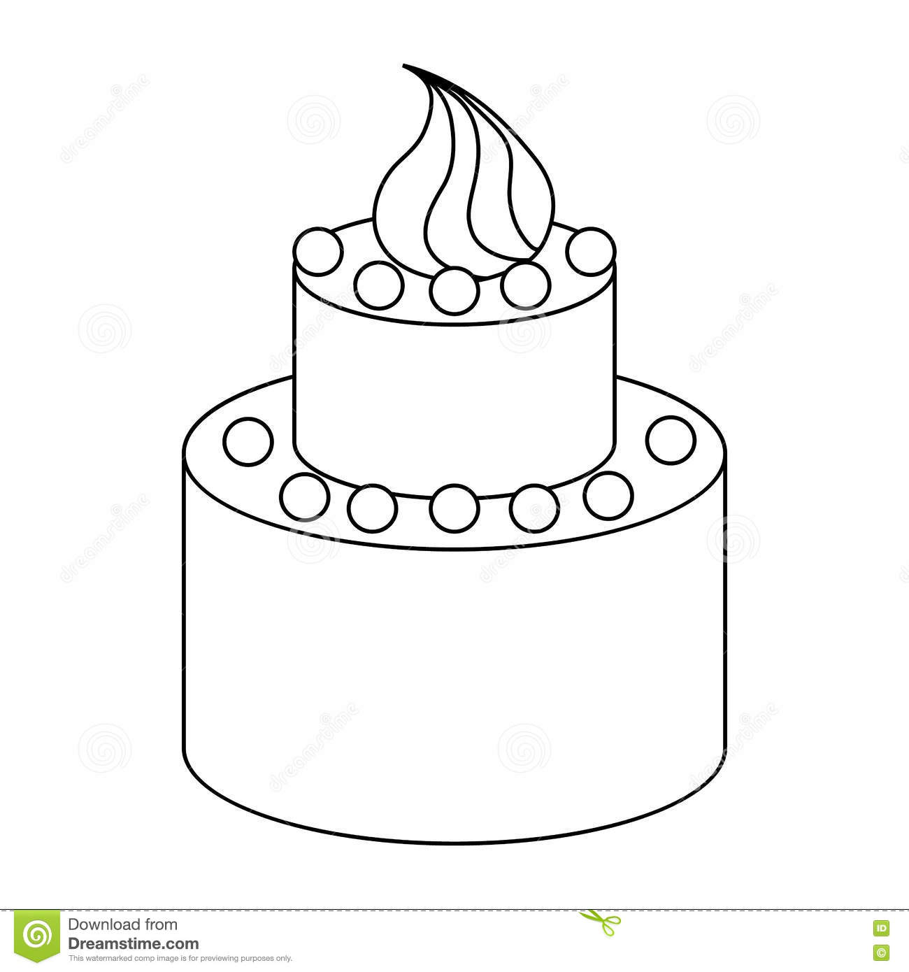 Two Tier Birthday Cake Icon Outline Style Stock Vector