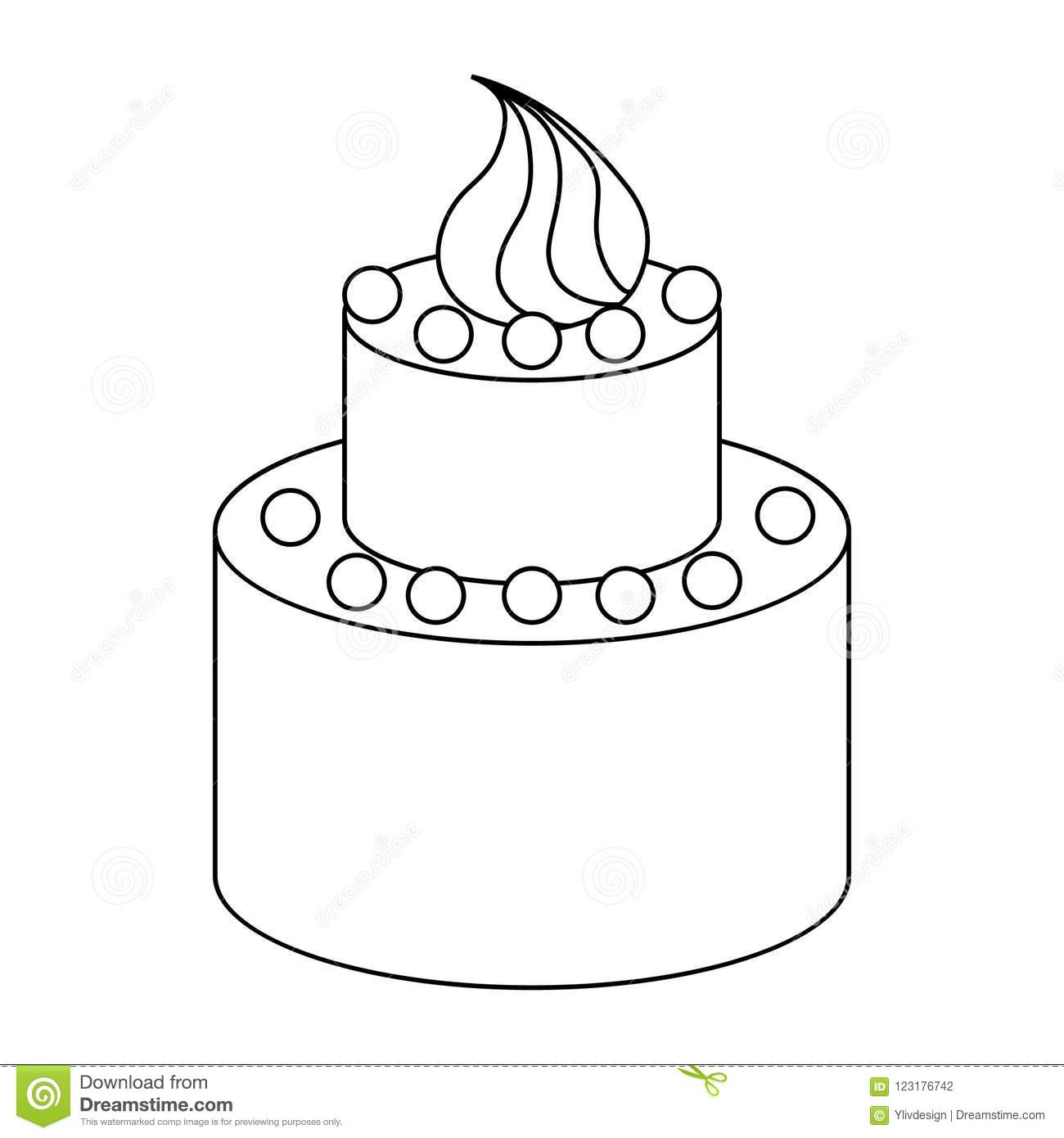 Two Tier Birthday Cake Icon Outline Style Stock Illustration