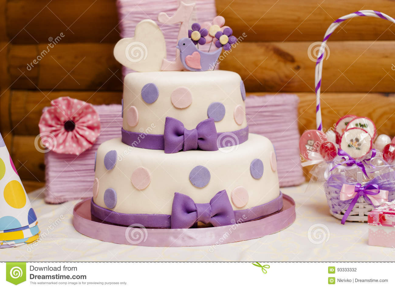 Two Tier Birthday Cake Stock Photo Image Of Decor Event 93333332