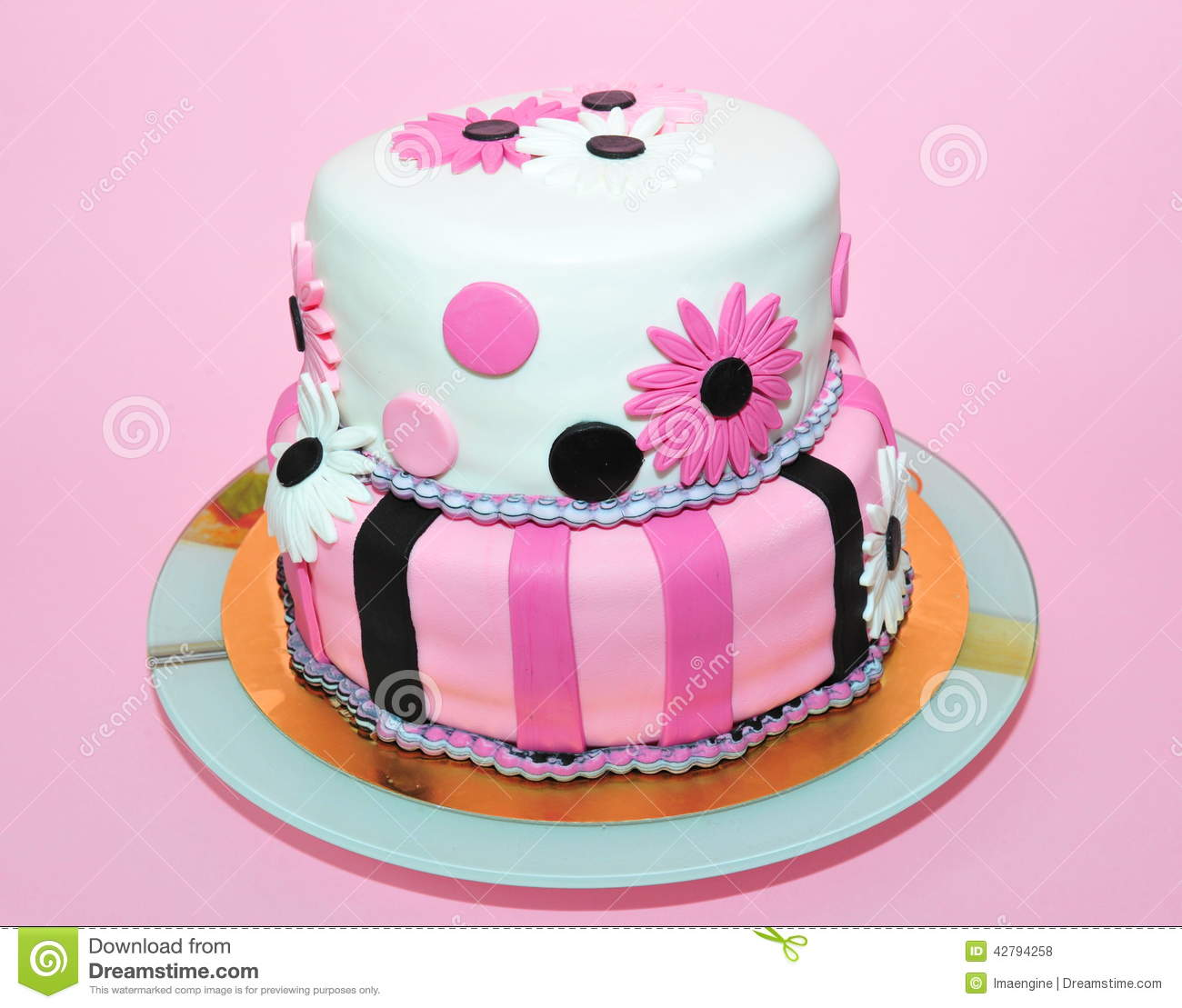 Two Tier Pink And White Fondant Cake Stock Photo Image