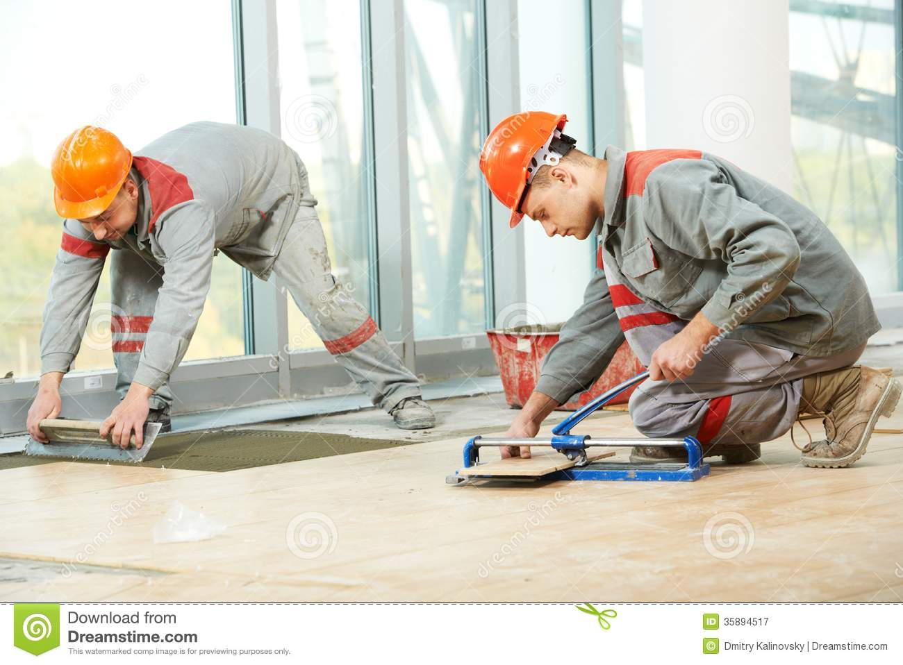 Two Tilers At Industrial Floor Tiling Renovation Royalty