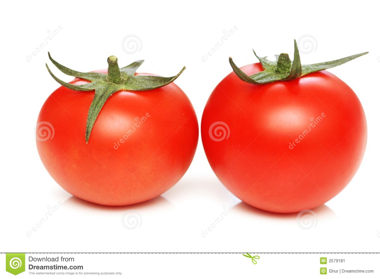 Two tomatoes isolated