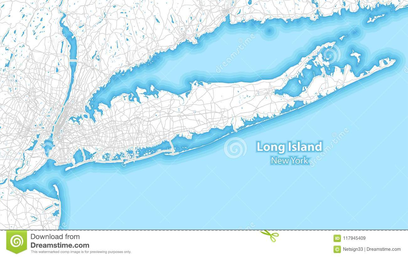 Two Toned Map Of Long Island New York Stock Vector Illustration