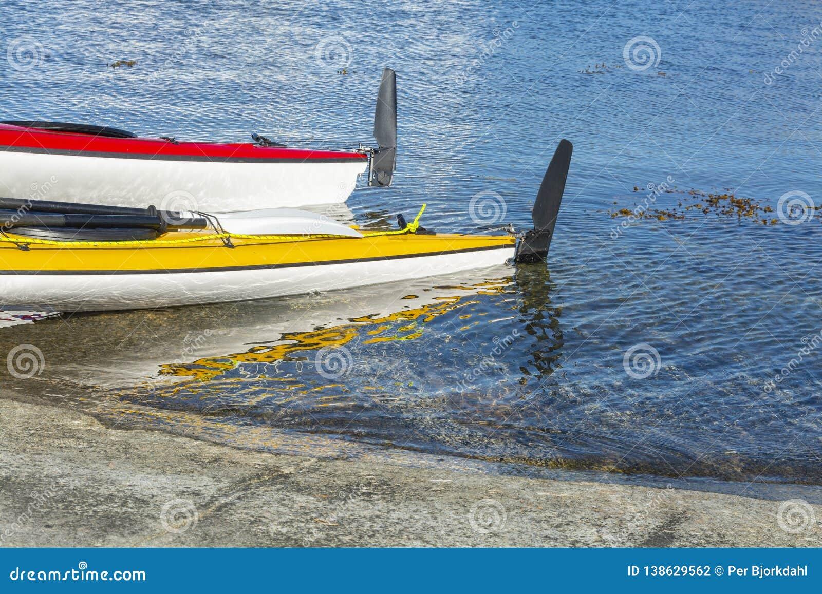 Two Touring Kayaks Stockholm Archipelago Stock Photo - Image