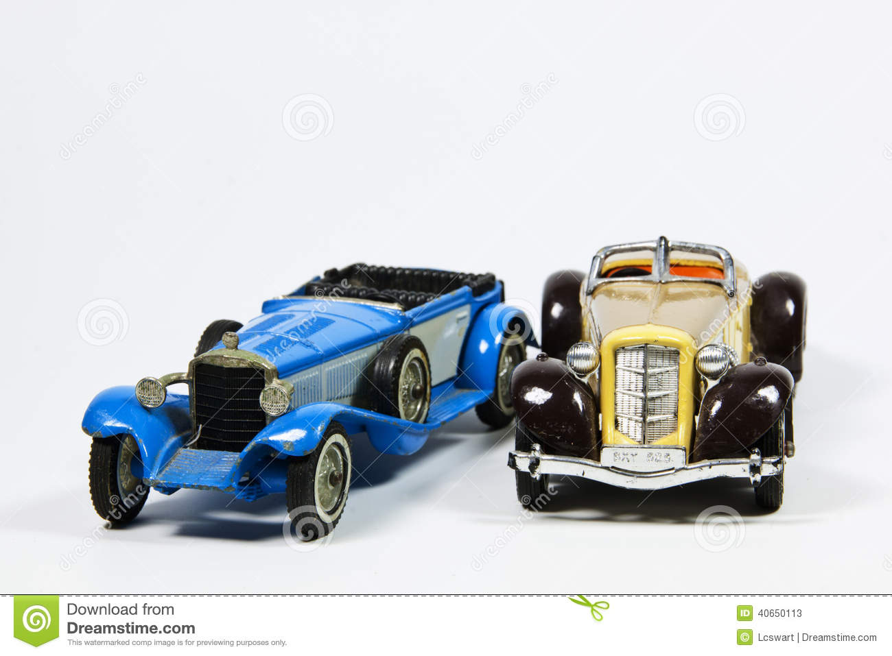 Toy Model Gallery : Two toy vintage model cars on white stock image