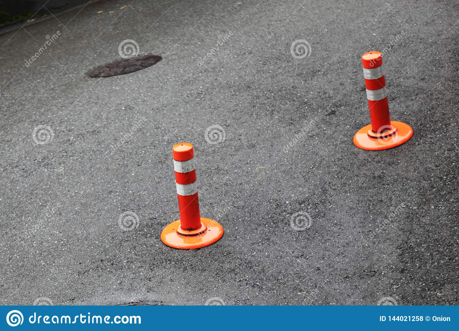 Two Traffic Barriers In Red And White Stock Photo - Image of