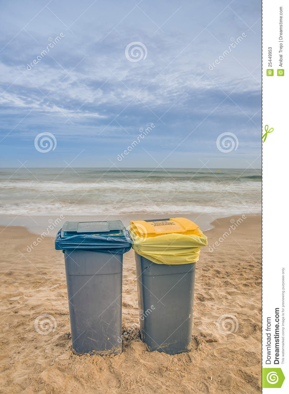 Two Trash Cans On The Beach Stock Photos Image 25449953