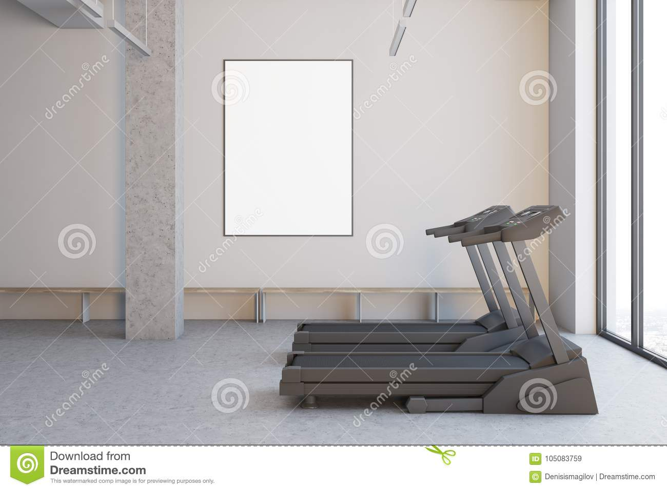 Two Treadmills In A White Room, Close Up Side Stock Illustration ...