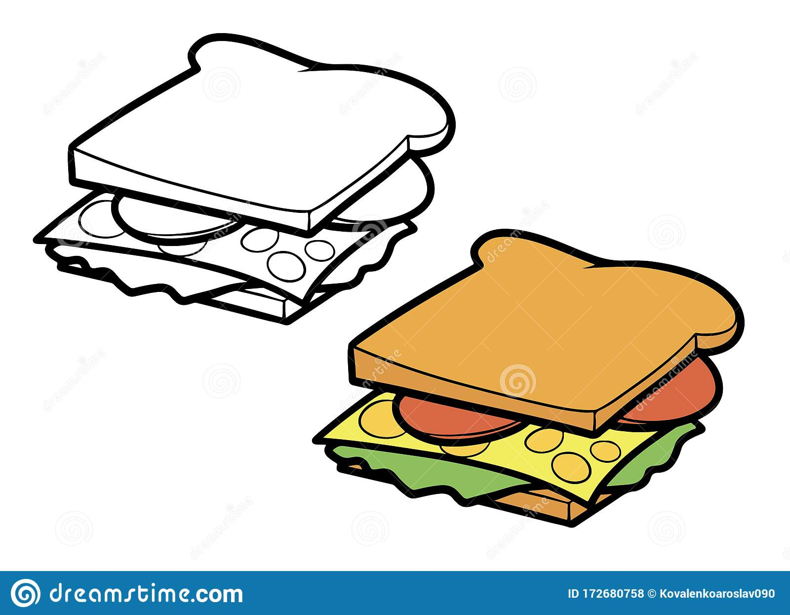 two types of cartoon sandwich with sausage cheese and herbs colored and black and white stock illustration illustration of fresh isolated 172680758 dreamstime com