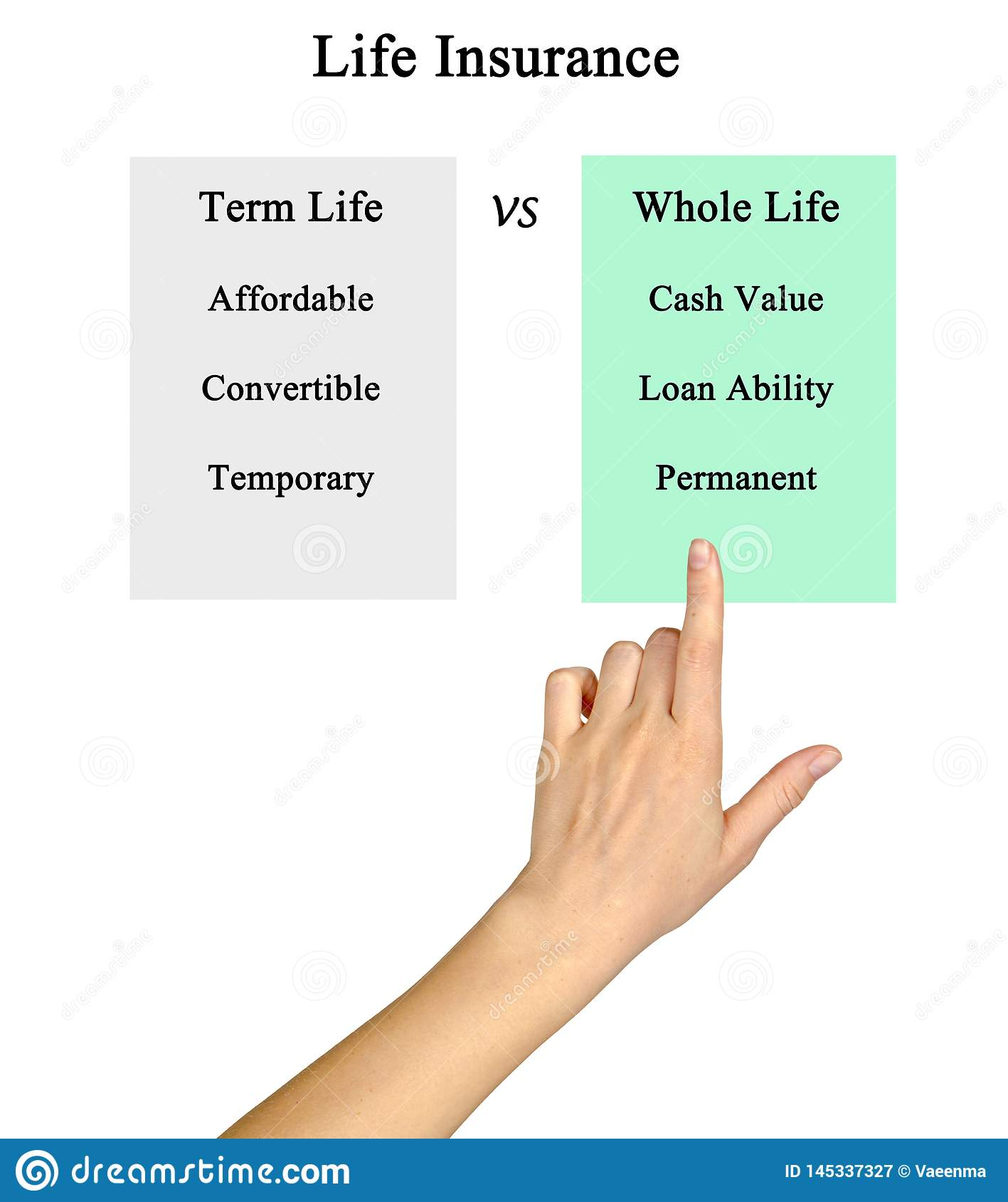 Two Types Of Life Insurance Stock Image - Image of life ...